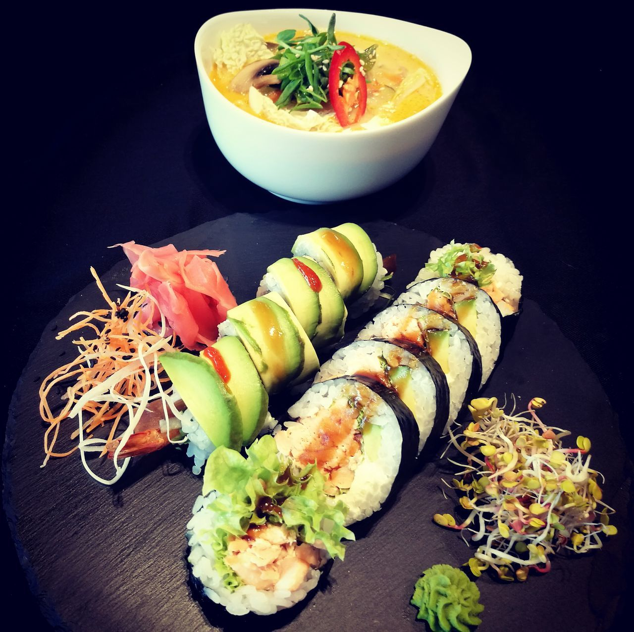 Freshness Healthy Eating Ready-to-eat Food Food And Drink Black Background No People Plate Indoors  Close-up sushi Lunch maki tasty food Sushilover Sushilovers