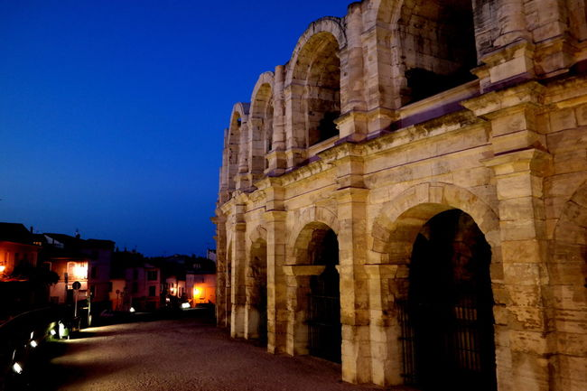 Ancient Ancient Architecture Ancient Civilization Arch Architecture Arena Arles Built Structure Camargue Clear Sky Coliseum Eye4photography  EyeEm Best Shots EyeEm Gallery EyeEmBestPics Famous Place France From My Point Of View History Illuminated Night Lights Nightphotography The Past Tourism Travel Destinations