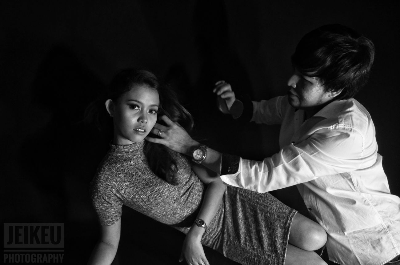Two People Model Monochrome Photography Makeup Headshot Indoors  Photoshoot Close-up Portrait Photography Black Background Beauty Studio Shot Makeupartist