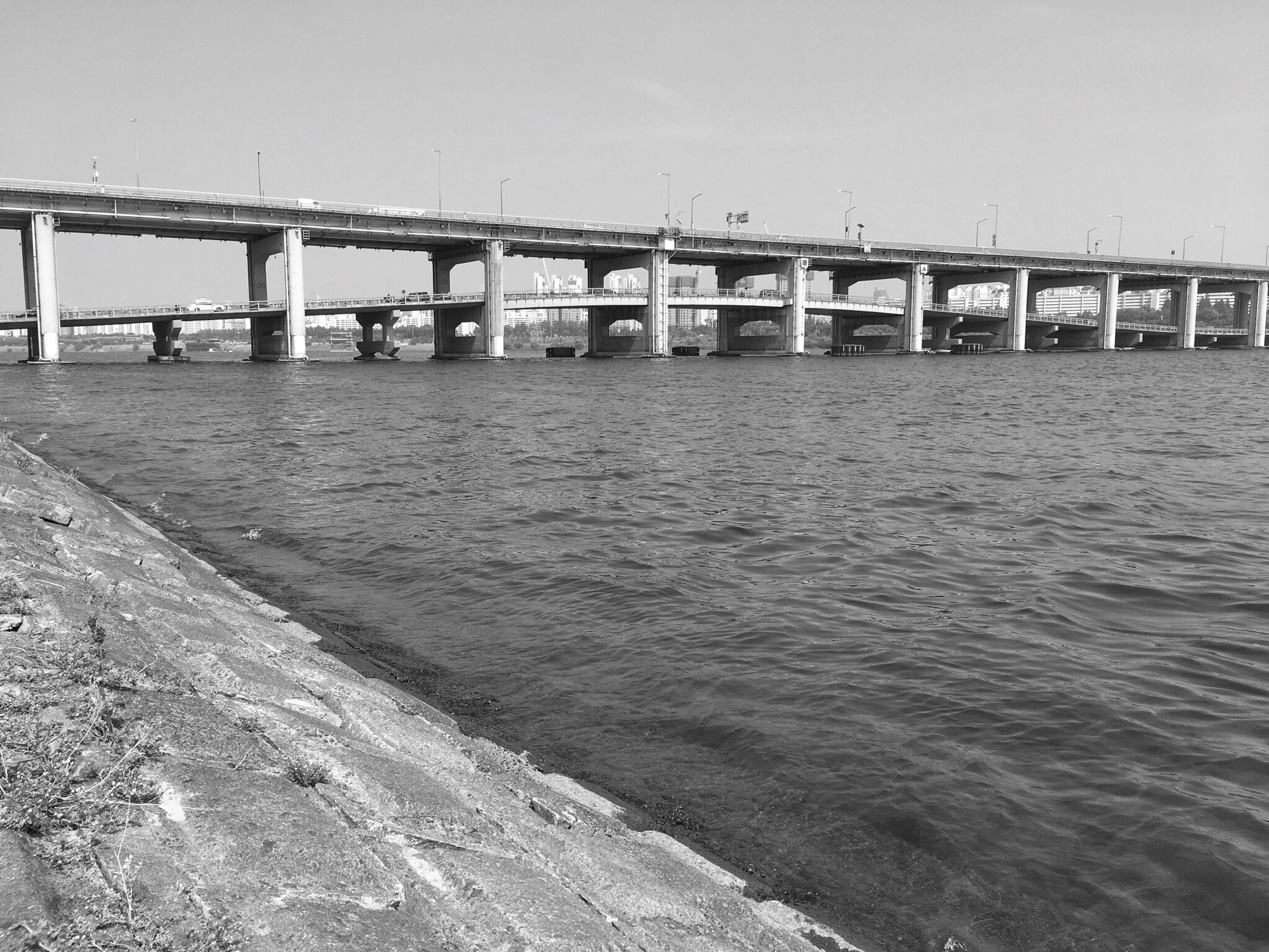 River Bridge Submersible Bridge Blackandwhite Black And White Black & White