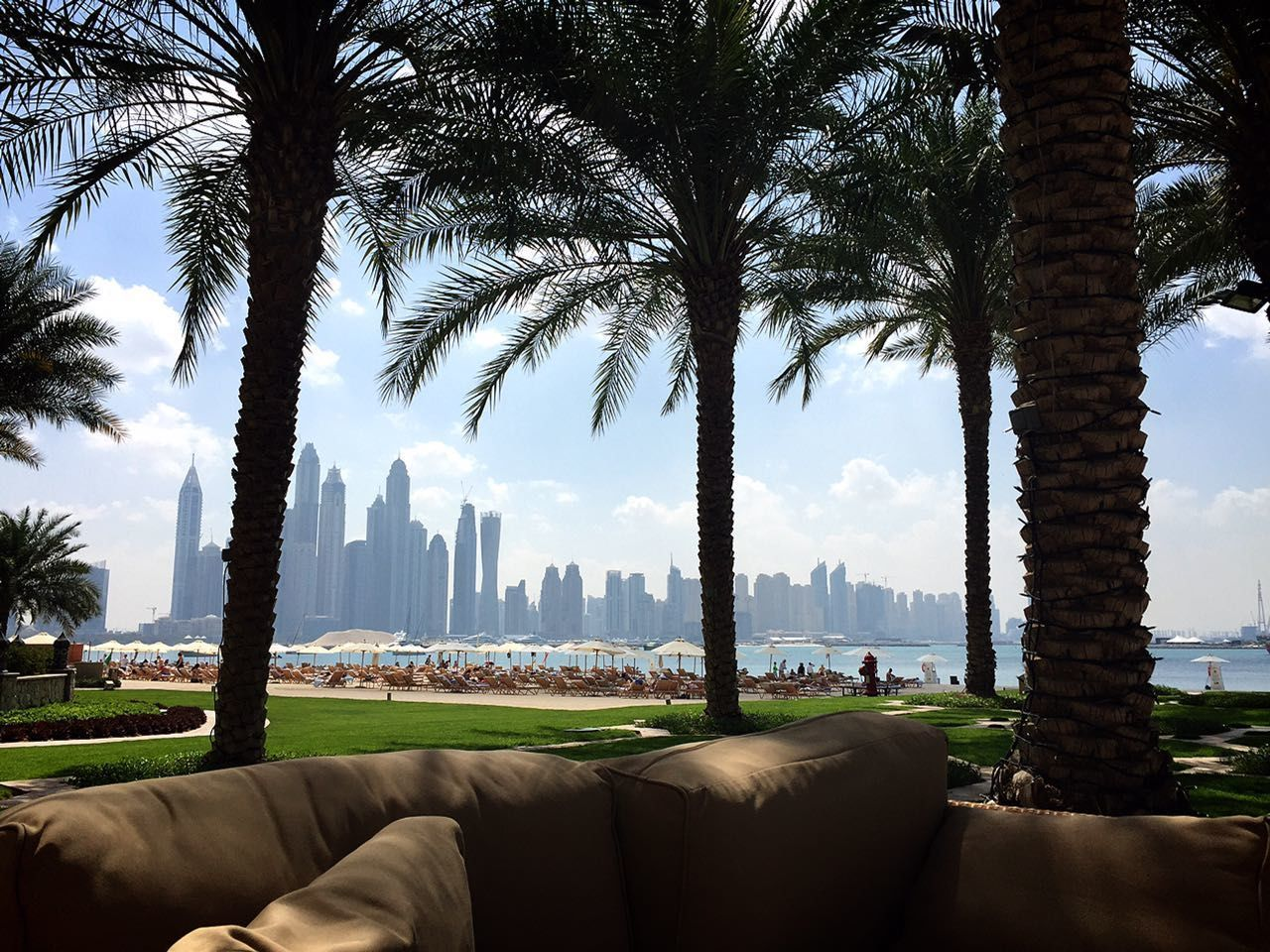 skyscraper, palm tree, architecture, tree, city, built structure, building exterior, cityscape, modern, tree trunk, urban skyline, sky, day, growth, luxury, travel destinations, outdoors, luxury hotel, beauty in nature, apartment, water, no people, nature