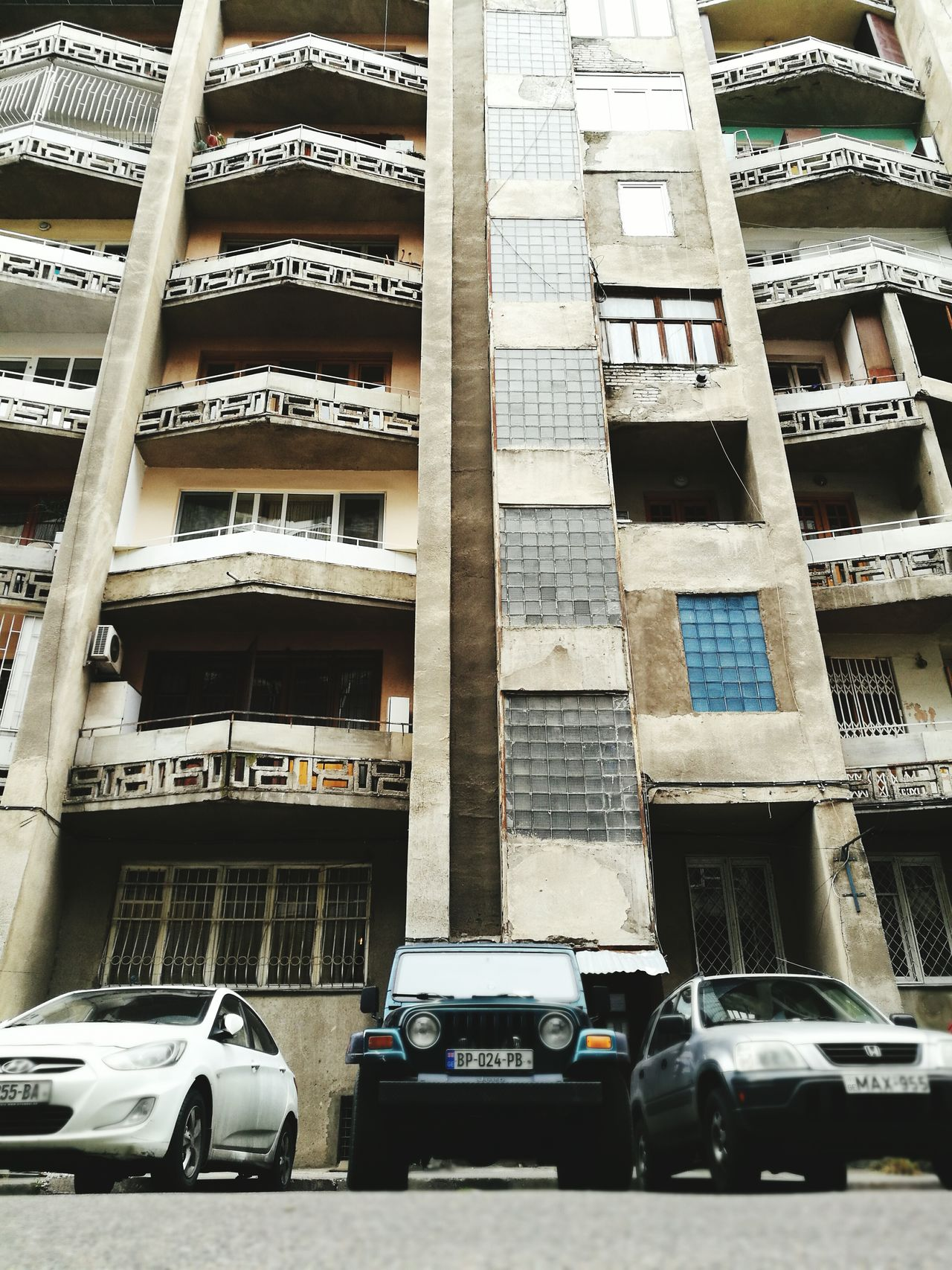 Tbilisi Georgia Architecture Block Housing Soviet Era Panel Balcony Car Architecture Building Exterior Built Structure City No People First Eyeem Photo