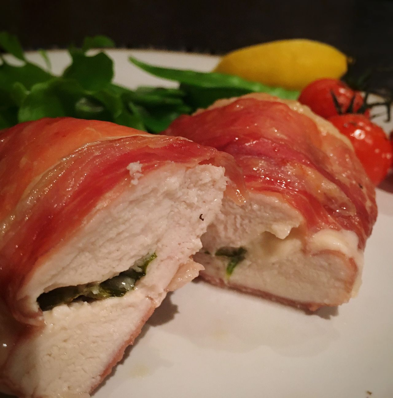 Parma ham wrapped chicken... Foodblogger Foodblogday2015 Food Photography Parmaham Chickenfillet Gruyere Cheese Basil Homemade Yum!