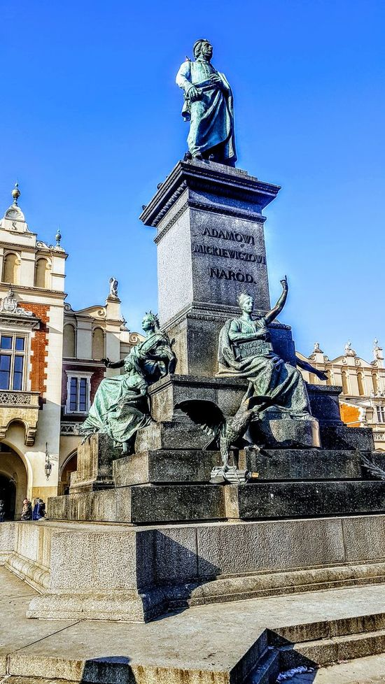 Adam Mickiewicz Monument Statue Rynek Rynek Główny Krakow Poland Sunny