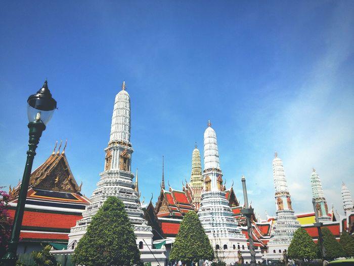 Travel Destinations Wat Prakeaw Bangkok Thailand City Blue Sky