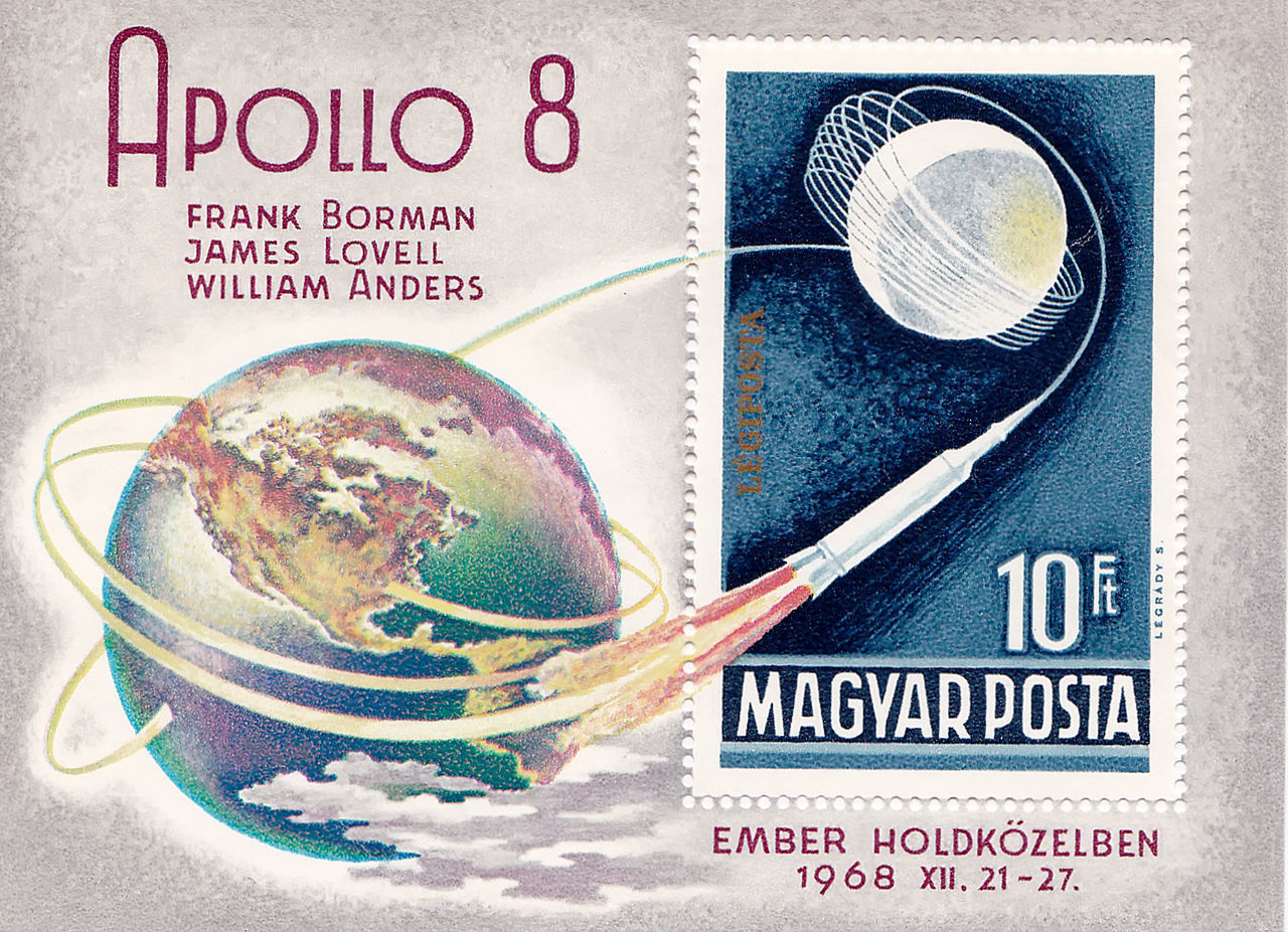1968 Apollo 8 Frank Borman Hungary Space Stamps James Lovell Space Exploration Stamps William Anders Close-up Day Indoors  No People Planet Earth Studio Shot Text White Background