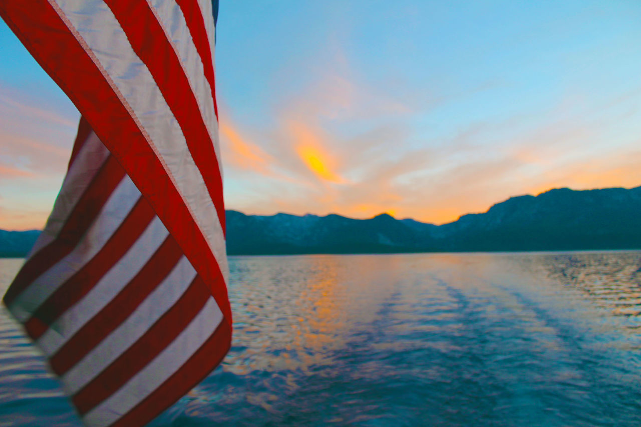 American Flag Flag Lake Tahoe California Sunset Lake Water Mountains Pride Boat