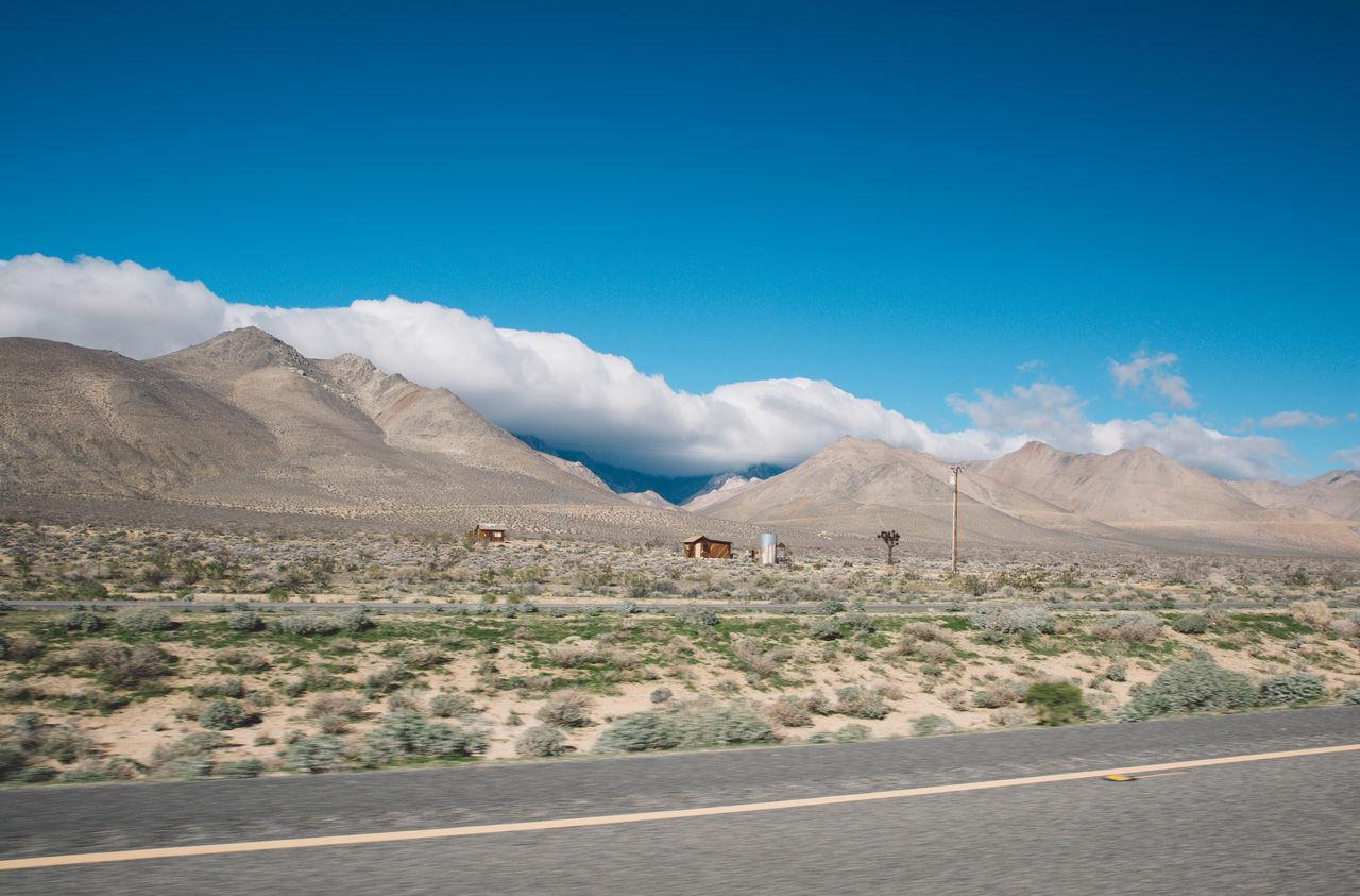 Arid Climate Arid Landscape Blue Sky CA-190 California Clouds Death Valley Desert Mountain Range Mountains Road Roadtrip Speed