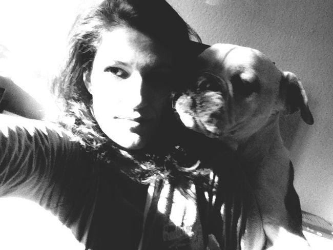 I Love My Dog Oldenglishbulldog Dog Blackandwhite Photography Hug ❤ Love Love Forever Never Ending Lovestory