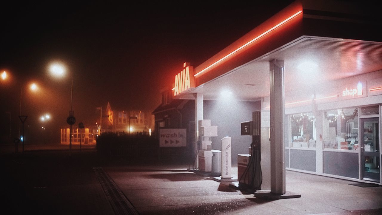 Foggy Night Night Illuminated No People Outdoors Fuel Pump Traveling 35mm The Week Of Eyeem Red Renesse Travel City Nightphotography Night Lights Neon Neon Lights Gas Station Night Photography Netherlands
