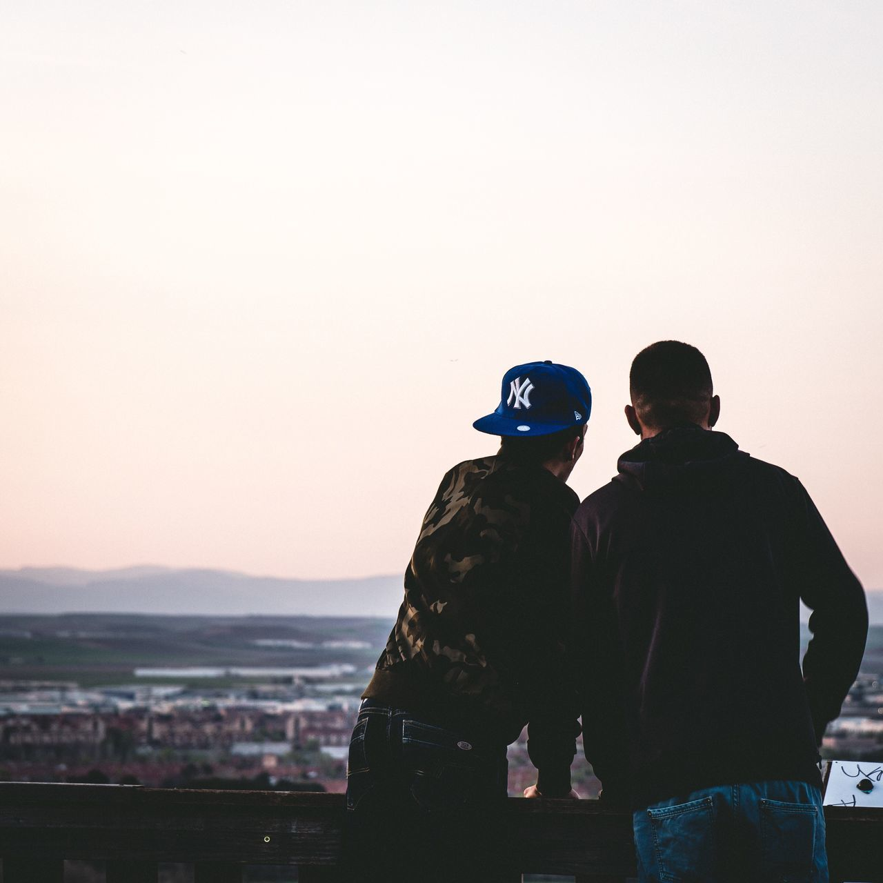Real People Two People Togetherness Leisure Activity Men Clear Sky Sky Bonding Lifestyles Standing Outdoors Friendship Nature Day Sunset Millennial Pink