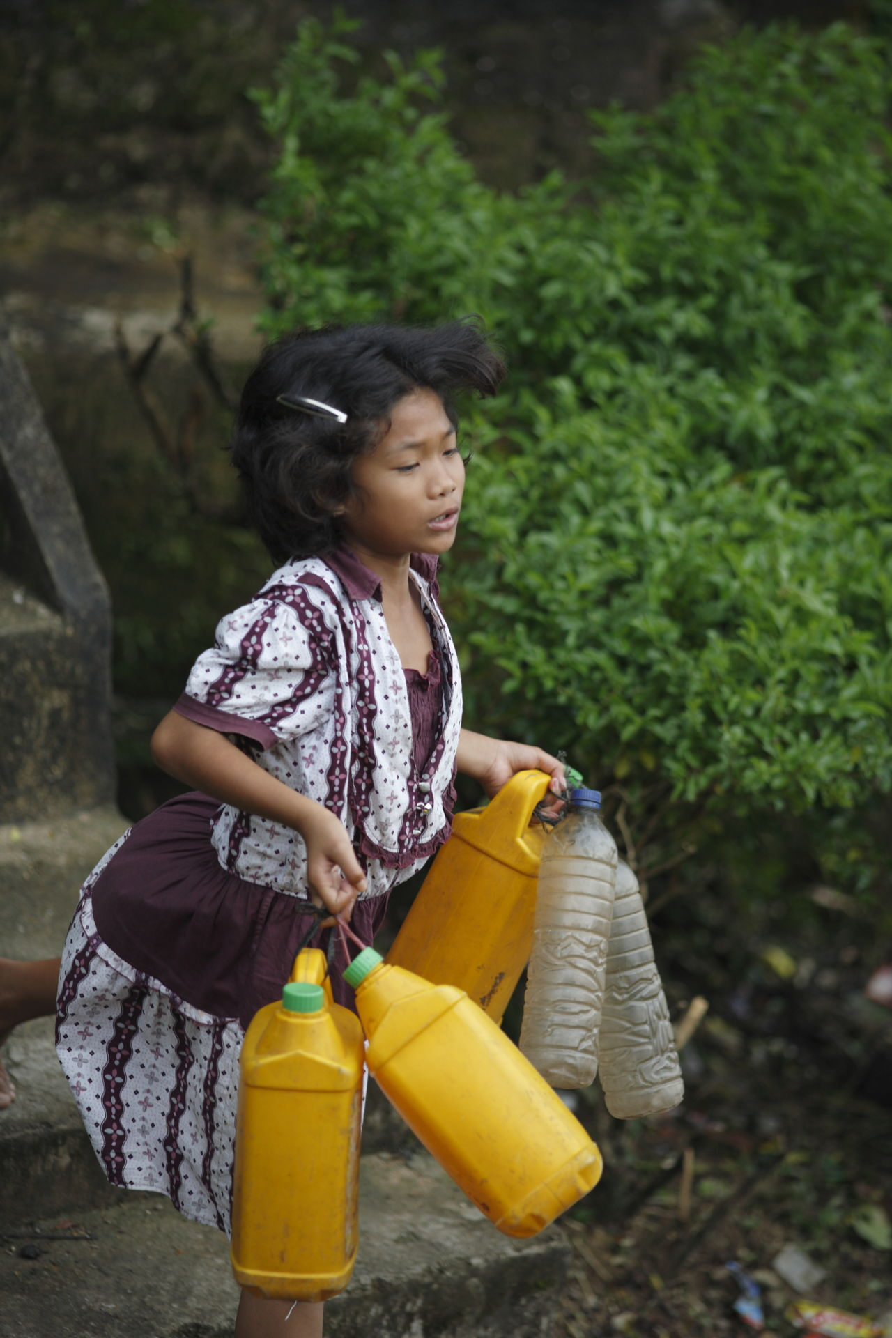 Uniqueness Childhood Real People Traditional Culture Child Worker Carrying Water  Nias Island INDONESIA Miles Away Women Around The World