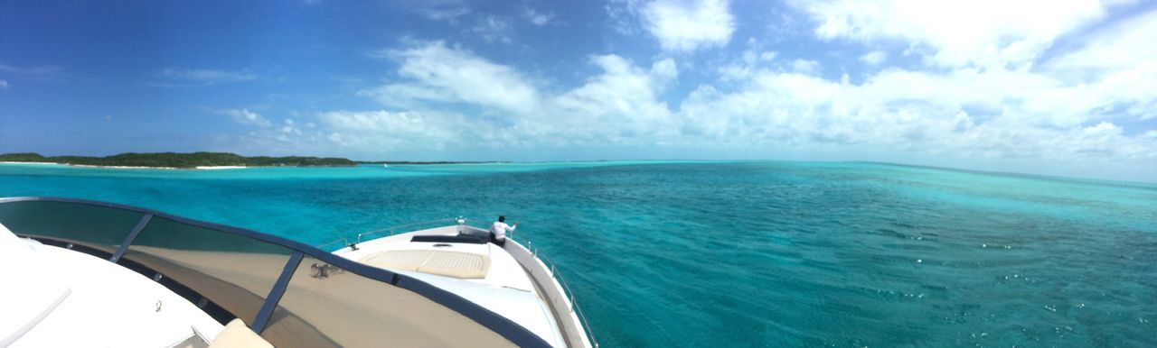 Sea Turquoise Colored Water Sky Nature Scenics Beauty In Nature Transportation Blue Horizon Over Water Yacht Panoramic Boat Yachting Tranquility Tranquil Scene Day Nautical Vessel Cloud - Sky No People Mode Of Transport Outdoors Vacations Travel Destinations