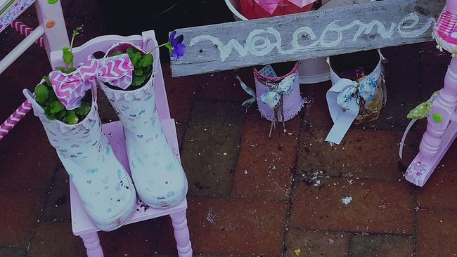 Bucks County Pennsylvania Garden Whimsey Country Garden Container Gardening Repurposed Old Rain Boots Welcome My Quirky Style My Creations