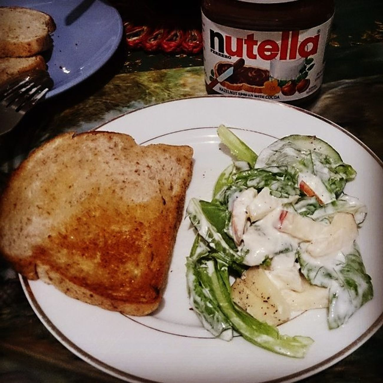 Healthy breakfast....with Nutella hahaha! HappyFriday Traininglater