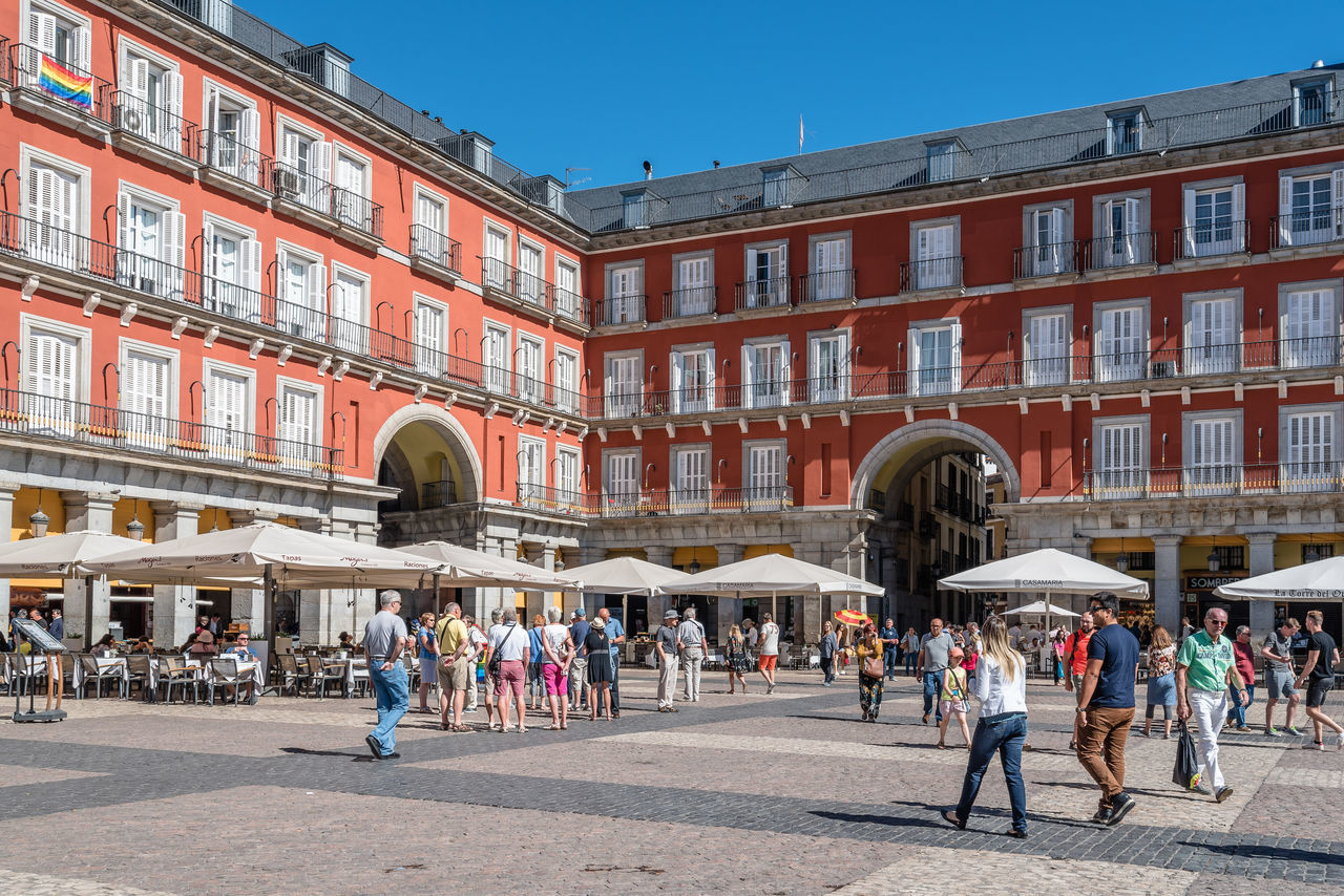 Plaza mayor of Madrid a sunny day of summer Architecture Madrid Place SPAIN Square Terrace Tourist Attraction  Tourists Travel Capital Cities  Historical Landmark Old Plaza Mayor Sidewalk Cafe Tourism Tourism Destination Tourist Destination Travel Destinations