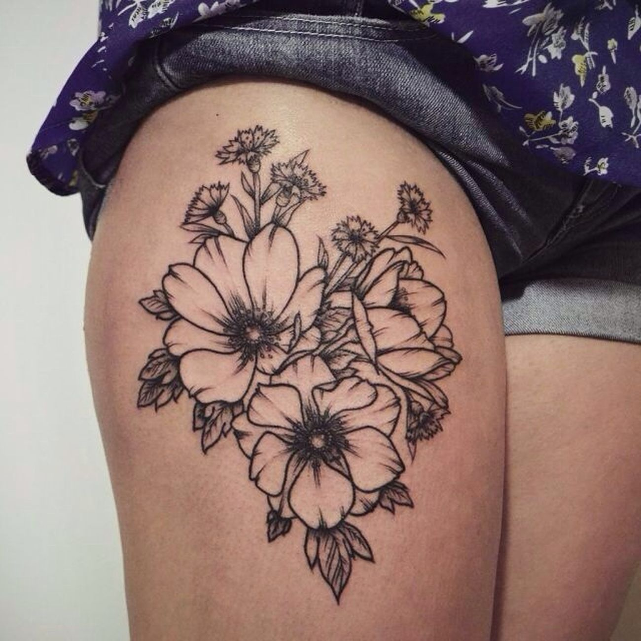 Tattoo Inked Blossom Leg Tattoo