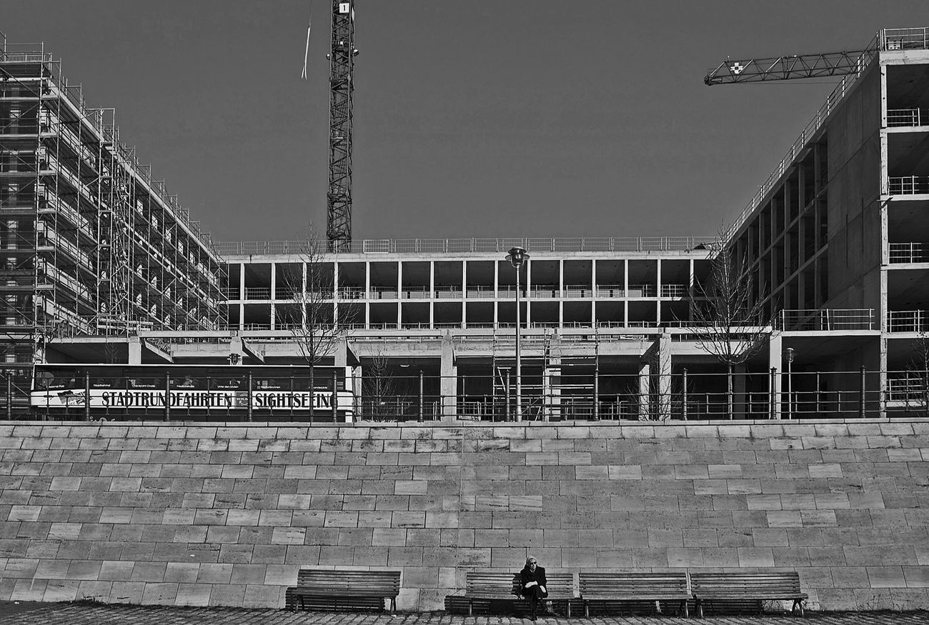 Blackandwhite Monochrome Under Construction... Urban Geometry old lady enjoying the winter sun...