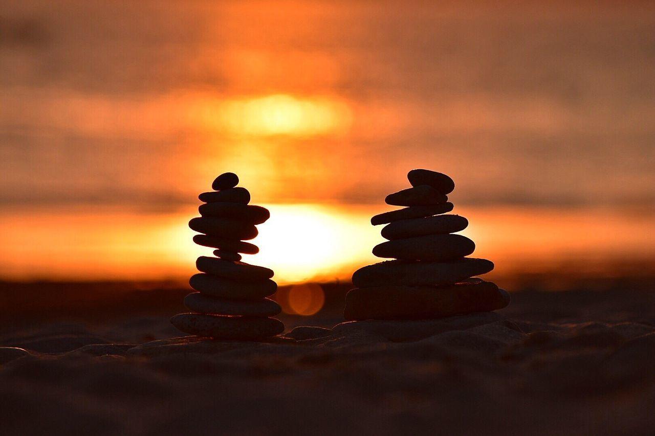 Restons Zen ! Sunset Close-up Sky Rocks And Water Rocks Galets
