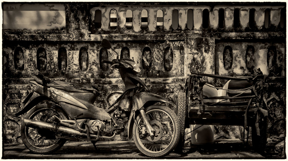 Abandoned Black And White Collection  Blackandwhite Photography Day Land Vehicle Mode Of Transport No People Outdoors Scooter Stationary Transportation Tricycle Vietnam The EyeEm Facebook Cover Challenge Vietnam Street View Vietnam Daily Life Vietnam Travel