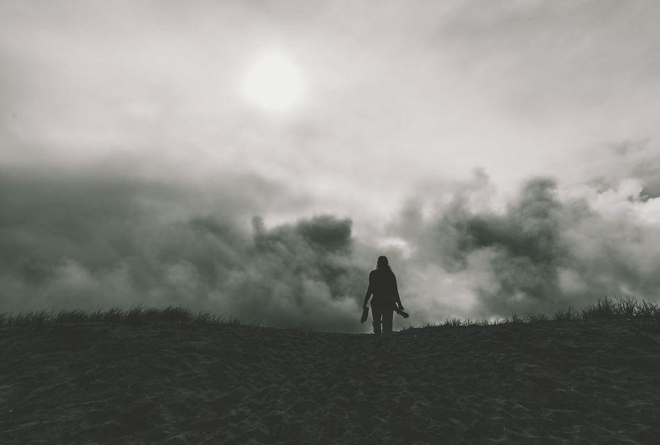 Go forth... One Person Outdoors PNWonderland Silhouette Otherworldly Wanderlust Black & White PNW EyeEm Masterclass SONY A7ii My Year My View Sony Fog Her Courageous Woman Oregon Coast Long Goodbye
