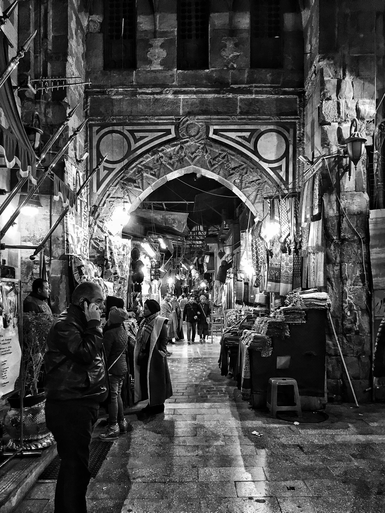 Khan Al-Khalili in Black and white Travel Destinations Large Group Of People Real People Illuminated Architecture Blackandwhite Black And White Black White Adapted To The City