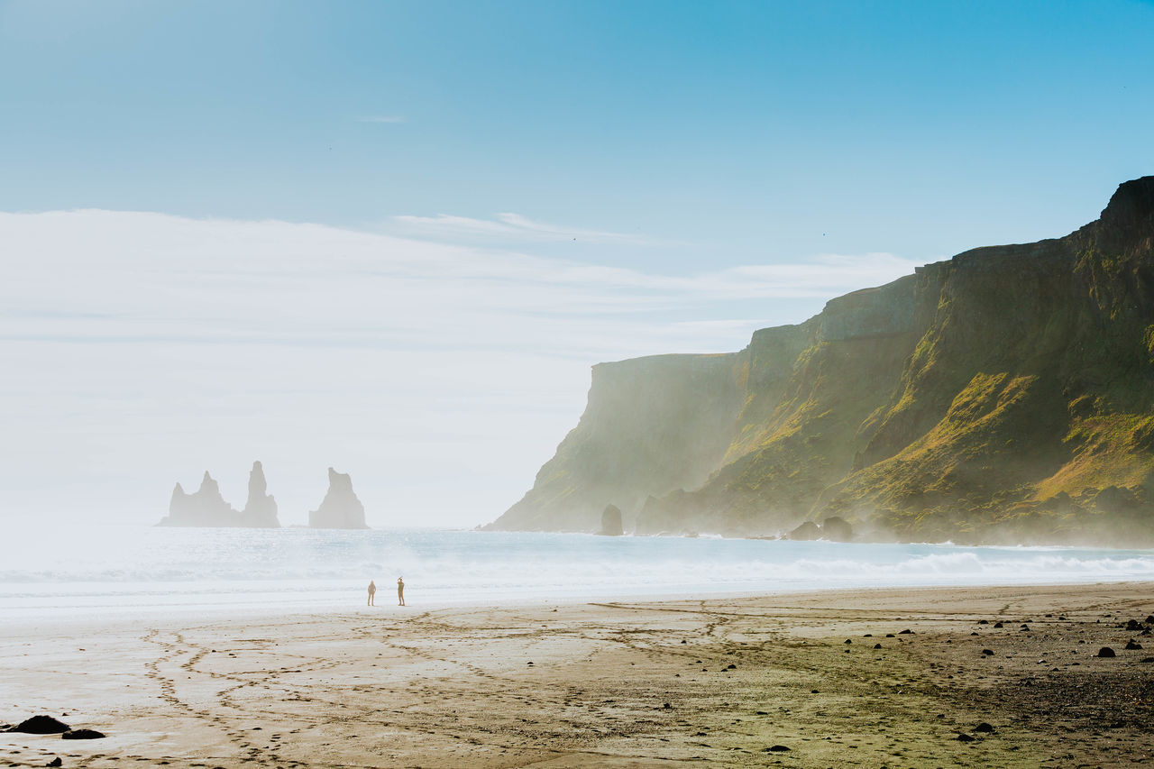 beach beauty in Nature coastal feature Coastline cultures day Iceland landscape mountain Nature outdoors people rock - object sand scenics sea sky travel destinations Vacations water Wave Fresh on Market 2017