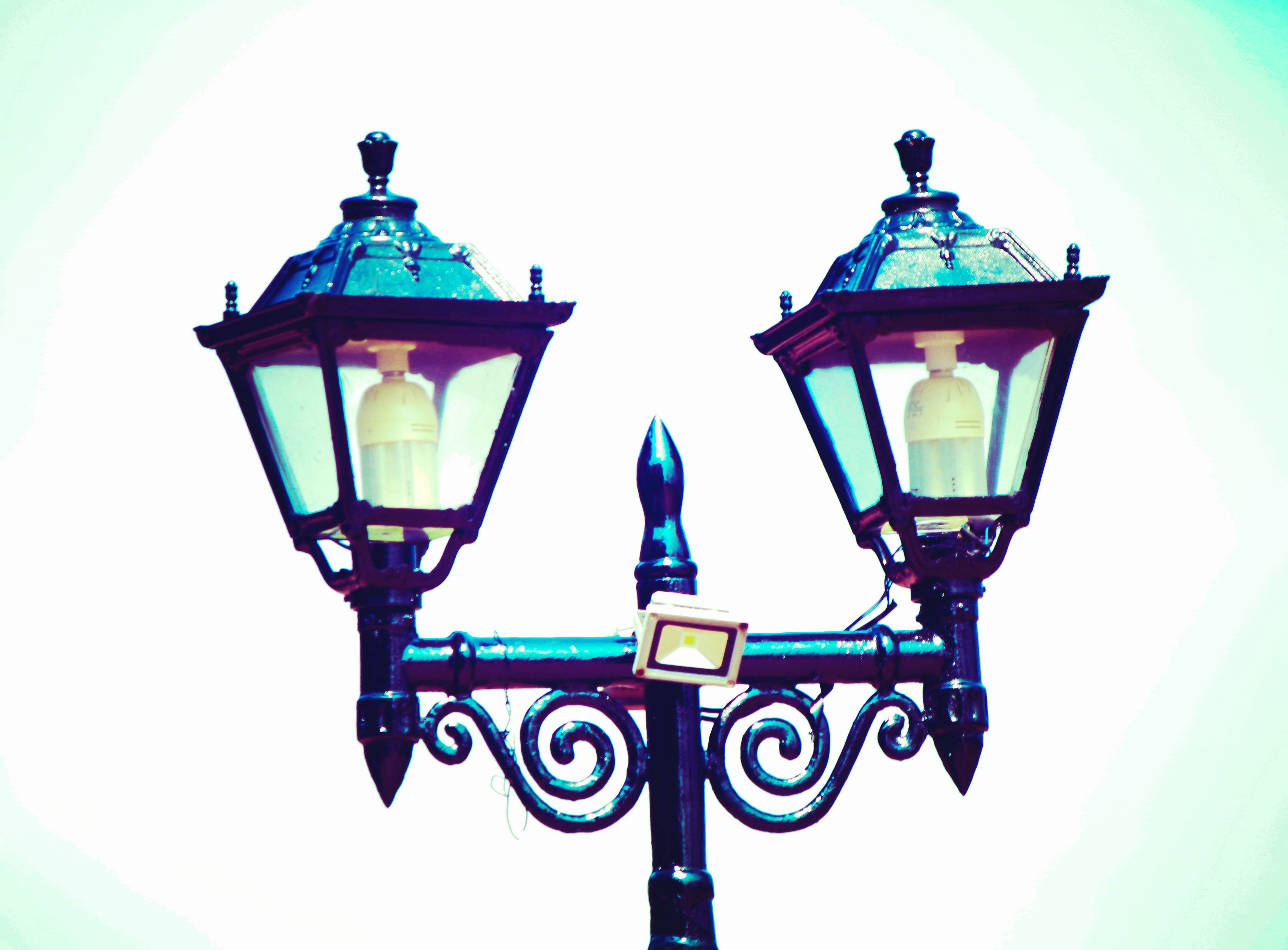 lighting equipment, street light, white background, illuminated, no people, clear sky, gas light, outdoors, sea, close-up, day, sky