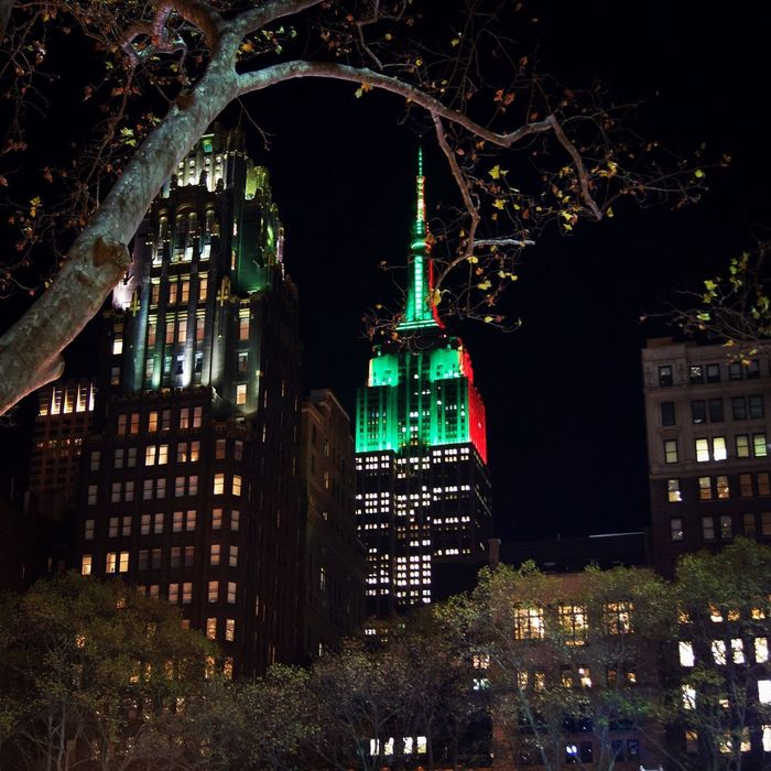 Esbnyc Empire State Building Bryant Park NYC Nightphotography Night City Lights Tree