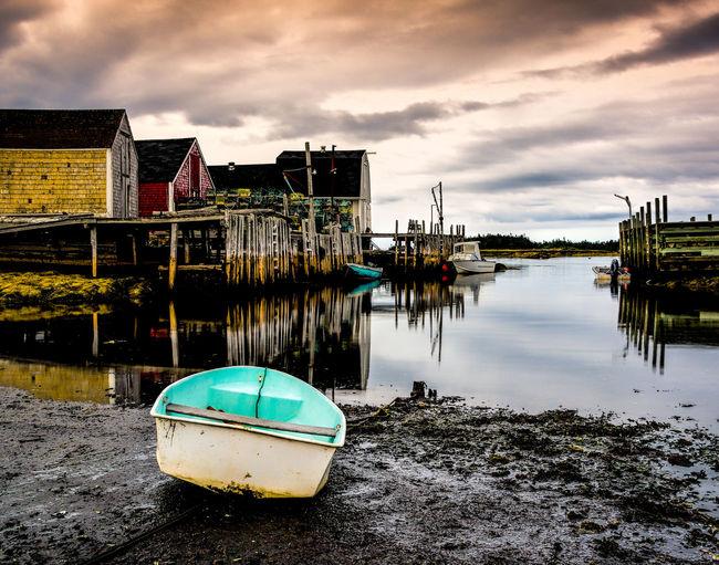 Buildings Calm Water Colourful Dorey Evening Light Lobster Traps Lowtide  Lunenburg, NS, Canada Row Boat Wharf