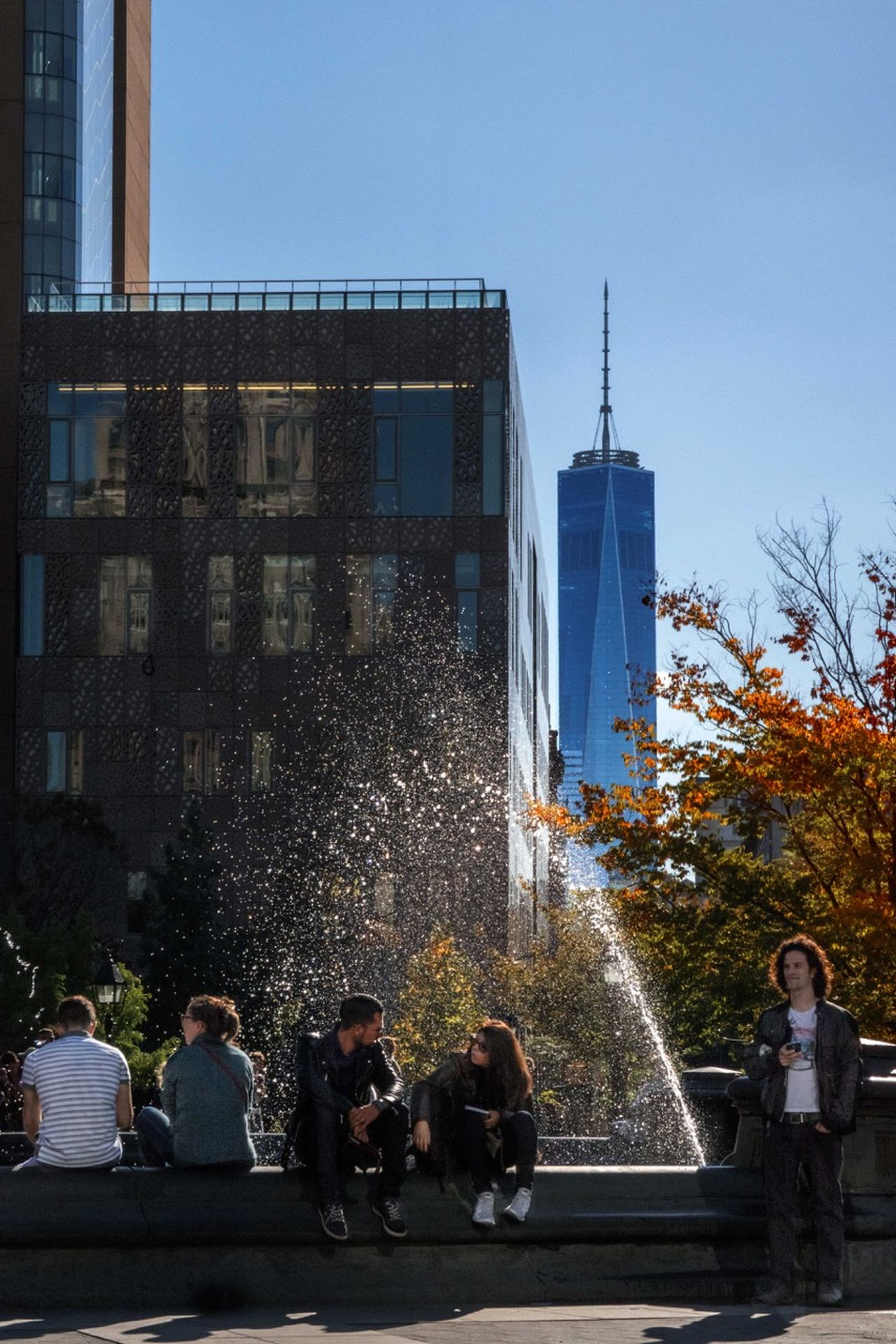 City Life Exterior Fountain Freedom Tower NYC Leisure Activity Place For Music & Street Theater Place To Met Friends Wash. Sq. Park, NYC - 10/16/15