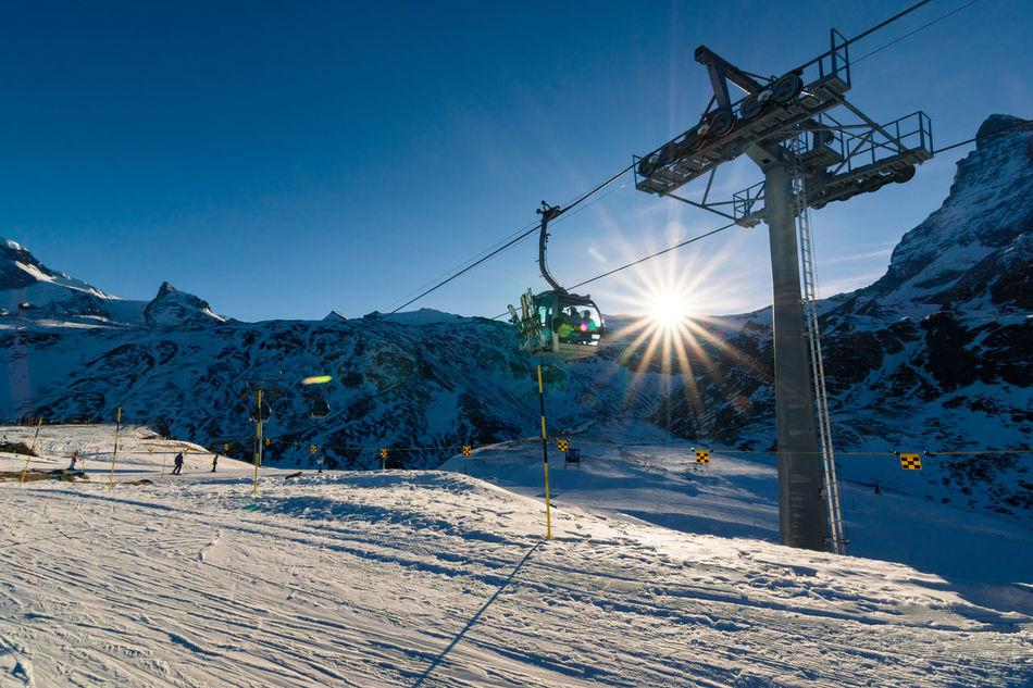 Cable Car Cold Temperature Europe Matterhorn  Mountain Postcard Snow Sony Star Sun Sun Rays Sunlight Switzerland Tokina Winter Zermatt