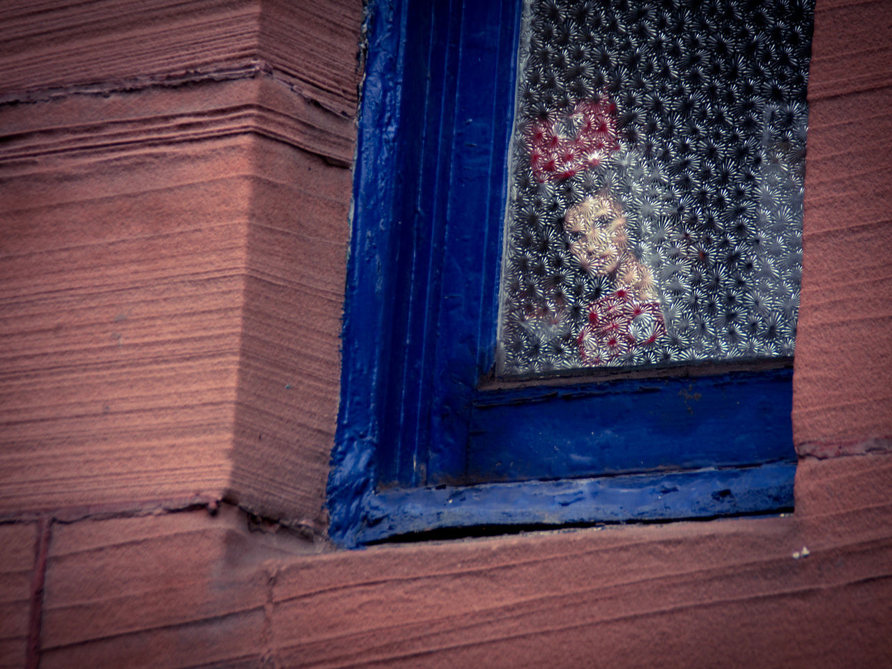 The Tea Cake Madonna. I don't even like Tunnocks Teacakes that much, I just think Scottish people are born with a spidey-sense for the damn things ;) f Architecture Blue Building Day Face Face At The Window Frosted Glass Glashow Glass Kitchen Madonna No People Pantry Portrait Red Sandstone Sandstone Scotland Scottish Tenement Tunnocks Teacakes Window Woman Portrait Fine Art Photography Colour Of Life Battle Of The Cities