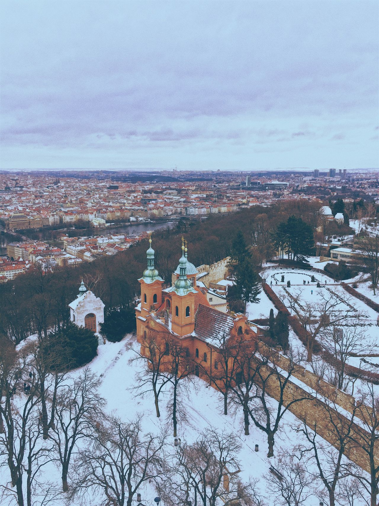 Church Architecture Built Structure Building Exterior Winter Place Of Worship Religion Weather No People Sky Cold Temperature Nature Snow Outdoors Cityscape Scenics Beauty In Nature Tree Day Scenic Lookout Prague Church Arial Shot Arialview