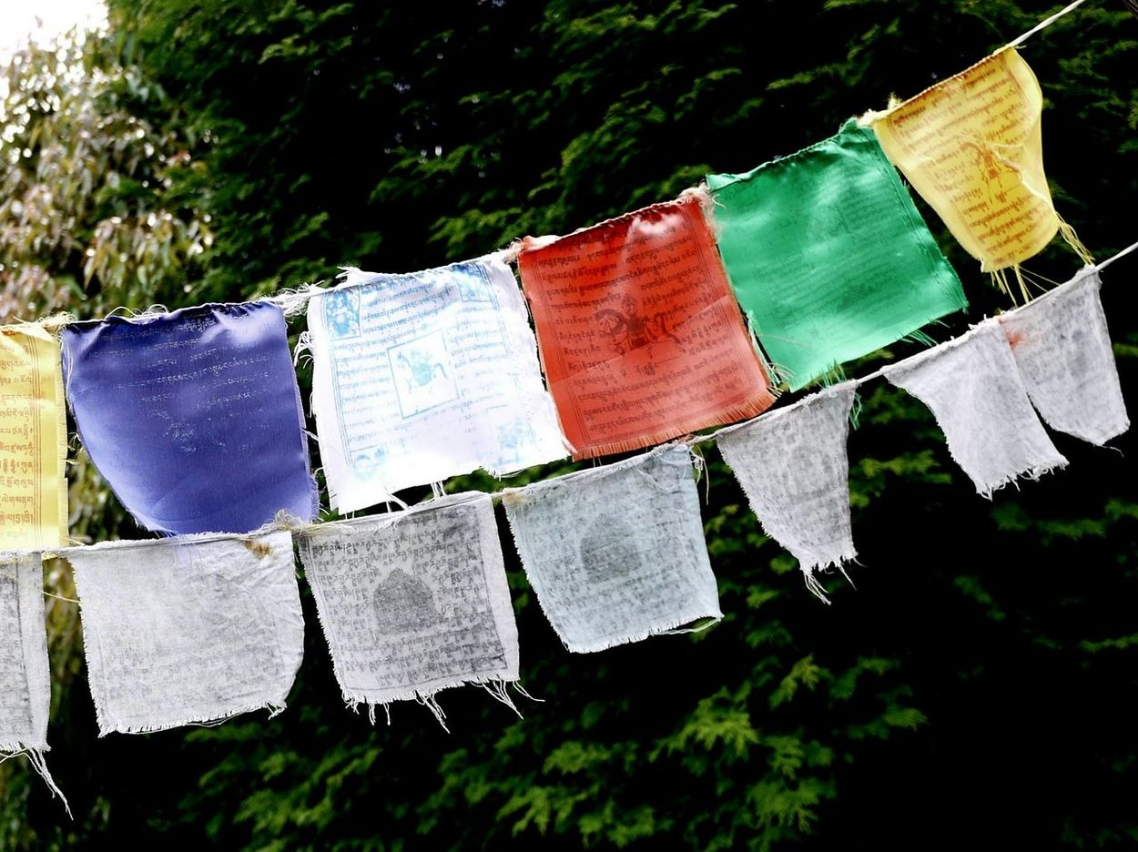 Buddhism Close-up Colorful Flags Frayed In A Row Japan Multi Colored Sutras Worn