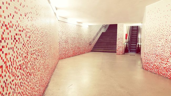 Which one will lead me to freedom? Traveling Sbahn Tunnel Vienna Wien Walking Around Freedom Wall Tiles Red Way Urban Perspective City Life City Trapped Walking Home Creative Lines&Design Austria