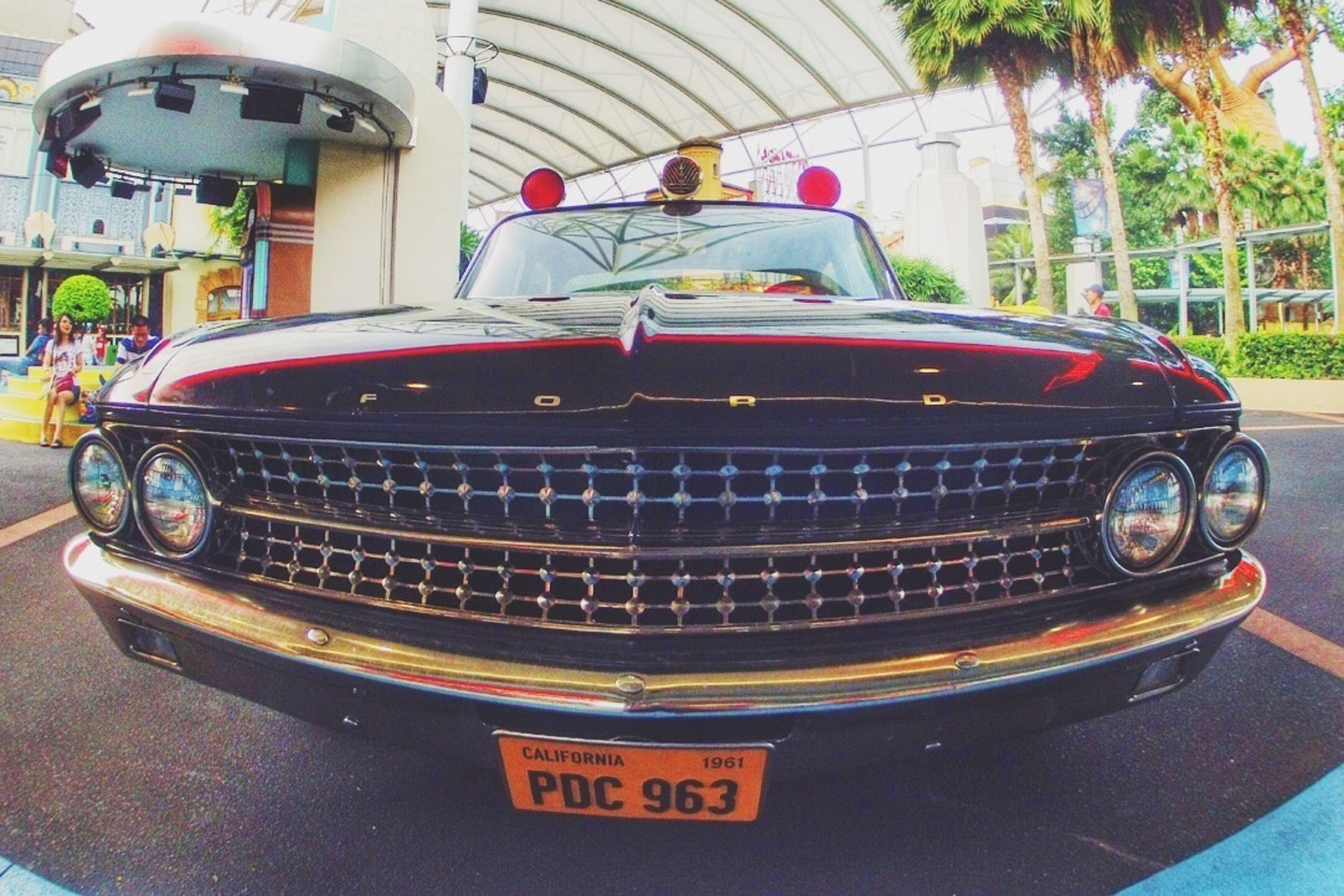 transportation, mode of transport, land vehicle, car, red, stationary, street, vintage car, travel, outdoors, day, old-fashioned, headlight, retro styled, parking, bus, metal, no people, truck, safety