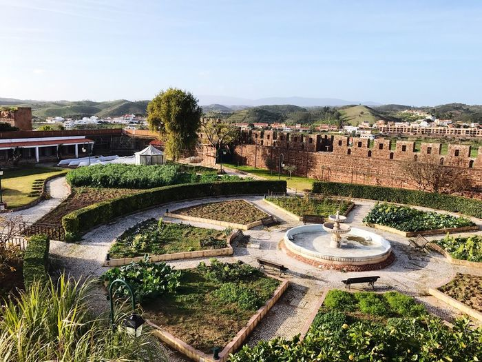 Silves Silves Fortress Silves Fort Portugal Clear Sky Built Structure Architecture Sky High Angle View Outdoors Sunlight Tree Building Exterior No People Day Nature Beauty In Nature Water