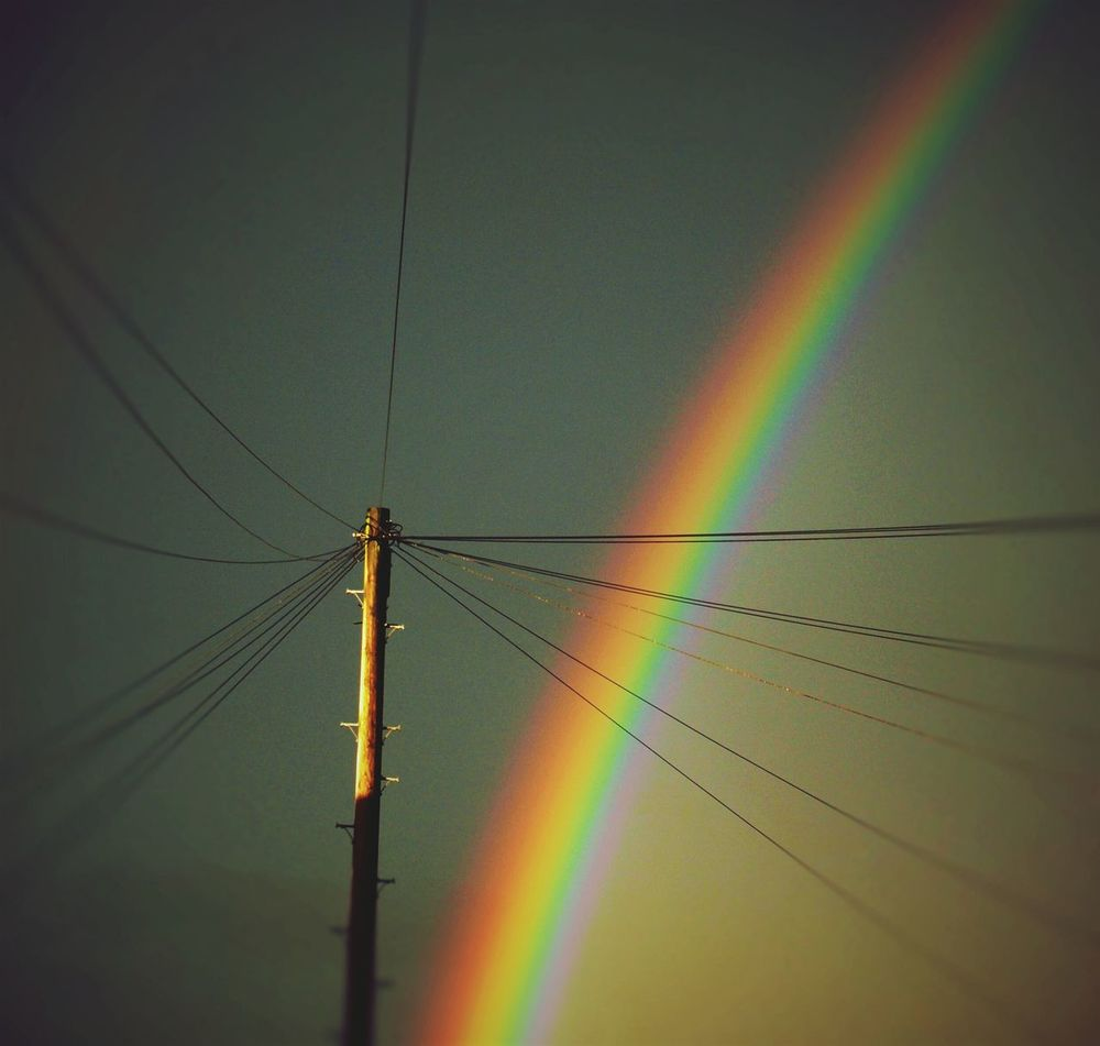 Awesome Rainbow last night taken From My Window Gloomy Sky Brightened Up Telegraph Pole Wires Cables