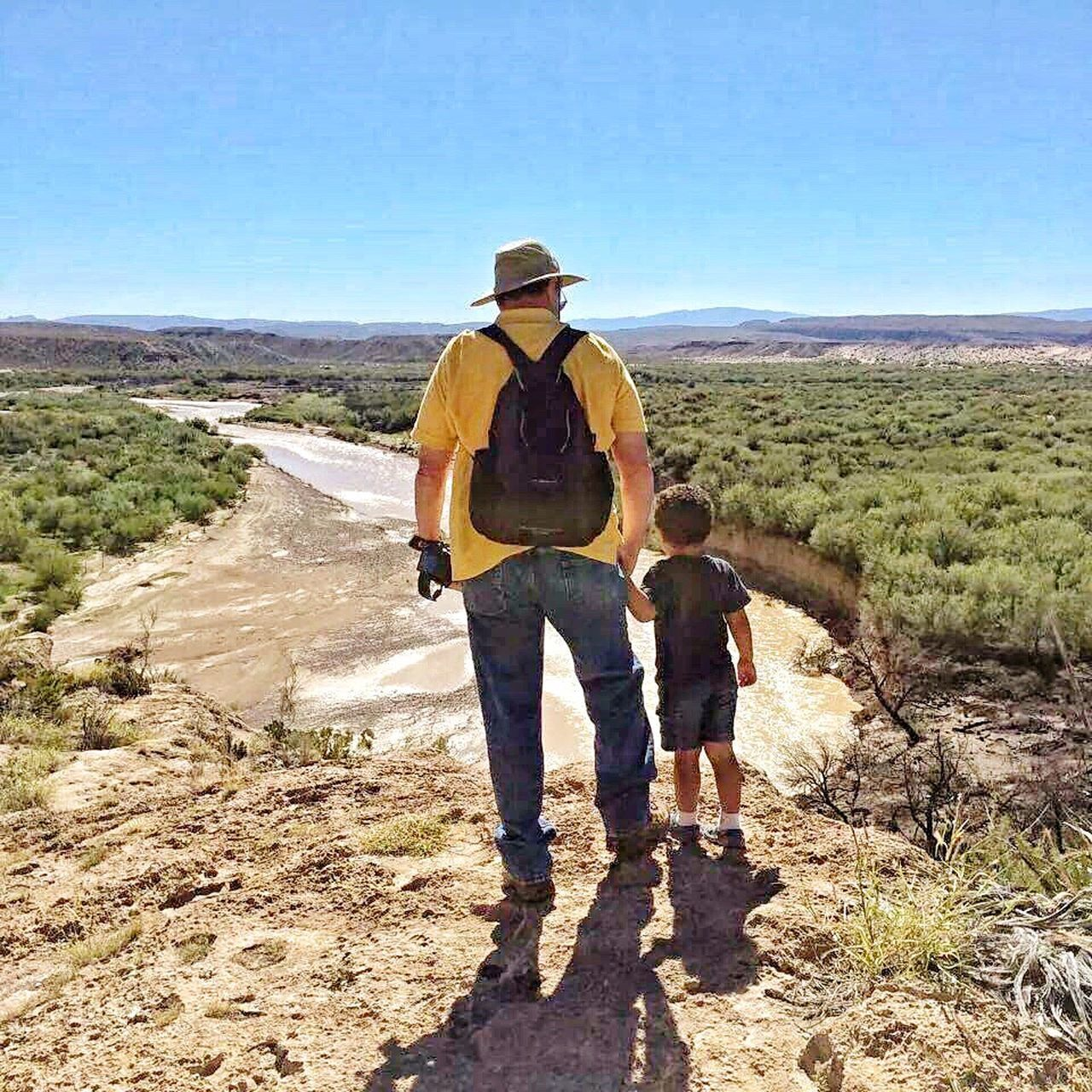 Two People Full Length Hiking Leisure Activity Standing Day Outdoors Sunlight Adventure Nature Big Bend National Park Area Río Grande Father & Son Exploring Desert Beauty
