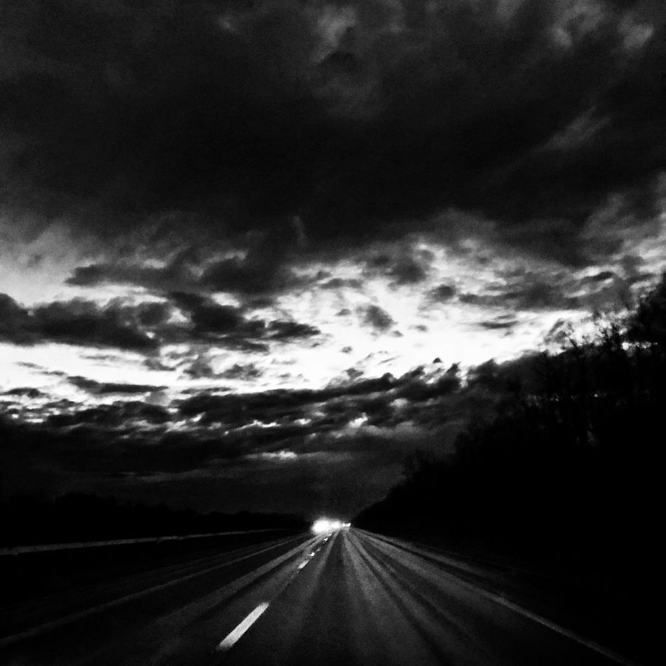 On the Road Blackandwhite Sky Clouds