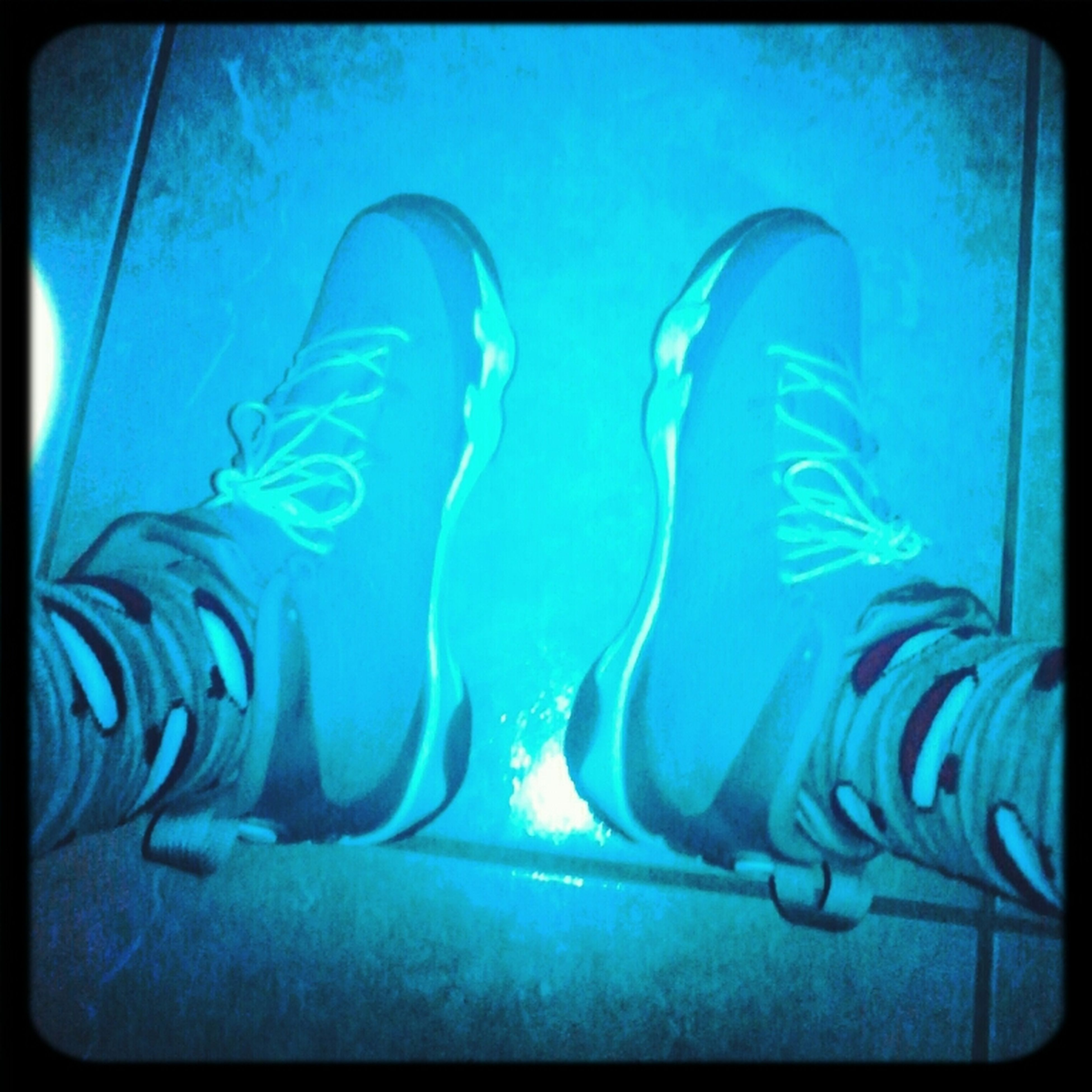transfer print, underwater, auto post production filter, blue, low section, swimming, lifestyles, person, indoors, leisure activity, water, men, undersea, fish, unrecognizable person, animal themes, shoe, high angle view