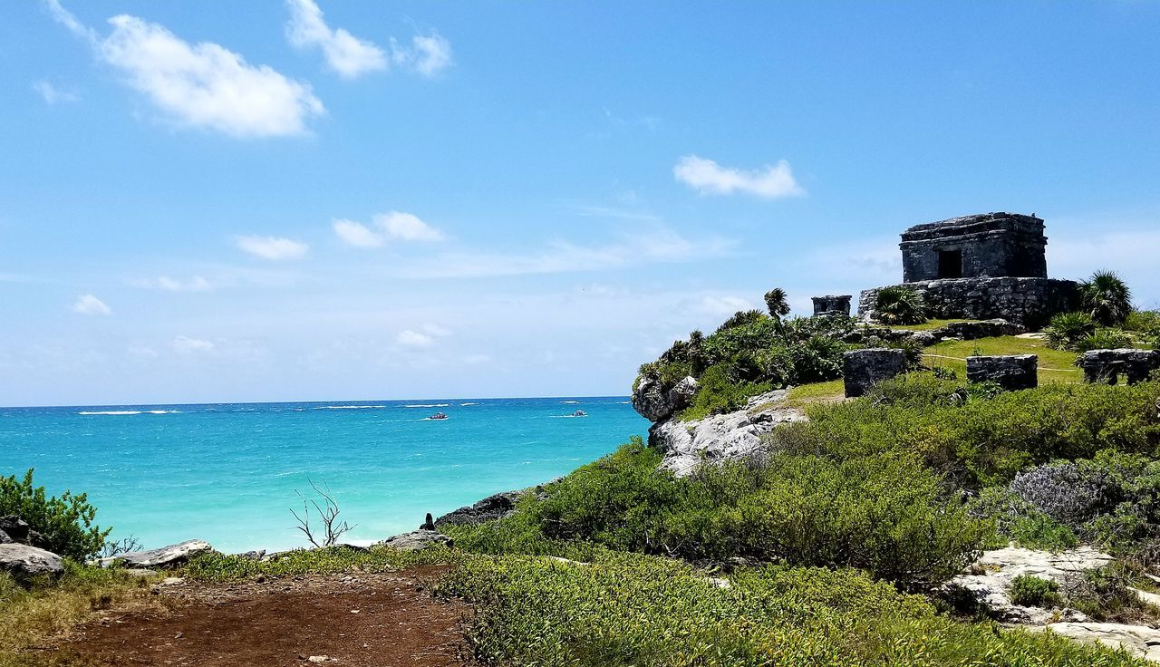 Tulum , Rivera Maya. Water Unfiltered Travel Destinations Wave summer Eye4photography  Tourist Attraction  Beach View Mayan Ruins Mexico Nature Beauty In Nature Ruins Historical Monuments