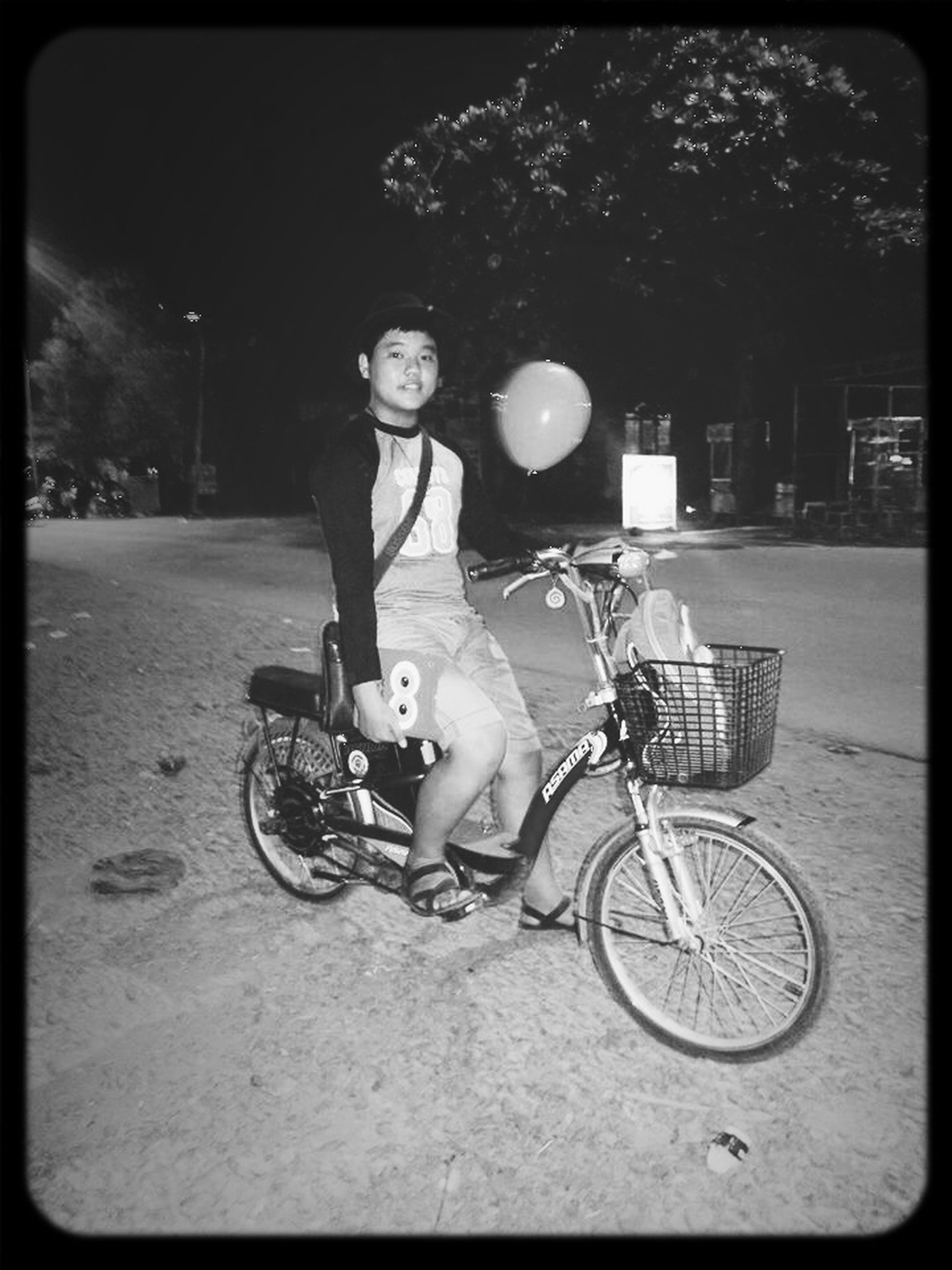 full length, lifestyles, bicycle, leisure activity, transfer print, person, land vehicle, childhood, casual clothing, auto post production filter, transportation, boys, elementary age, mode of transport, street, looking at camera, portrait, innocence