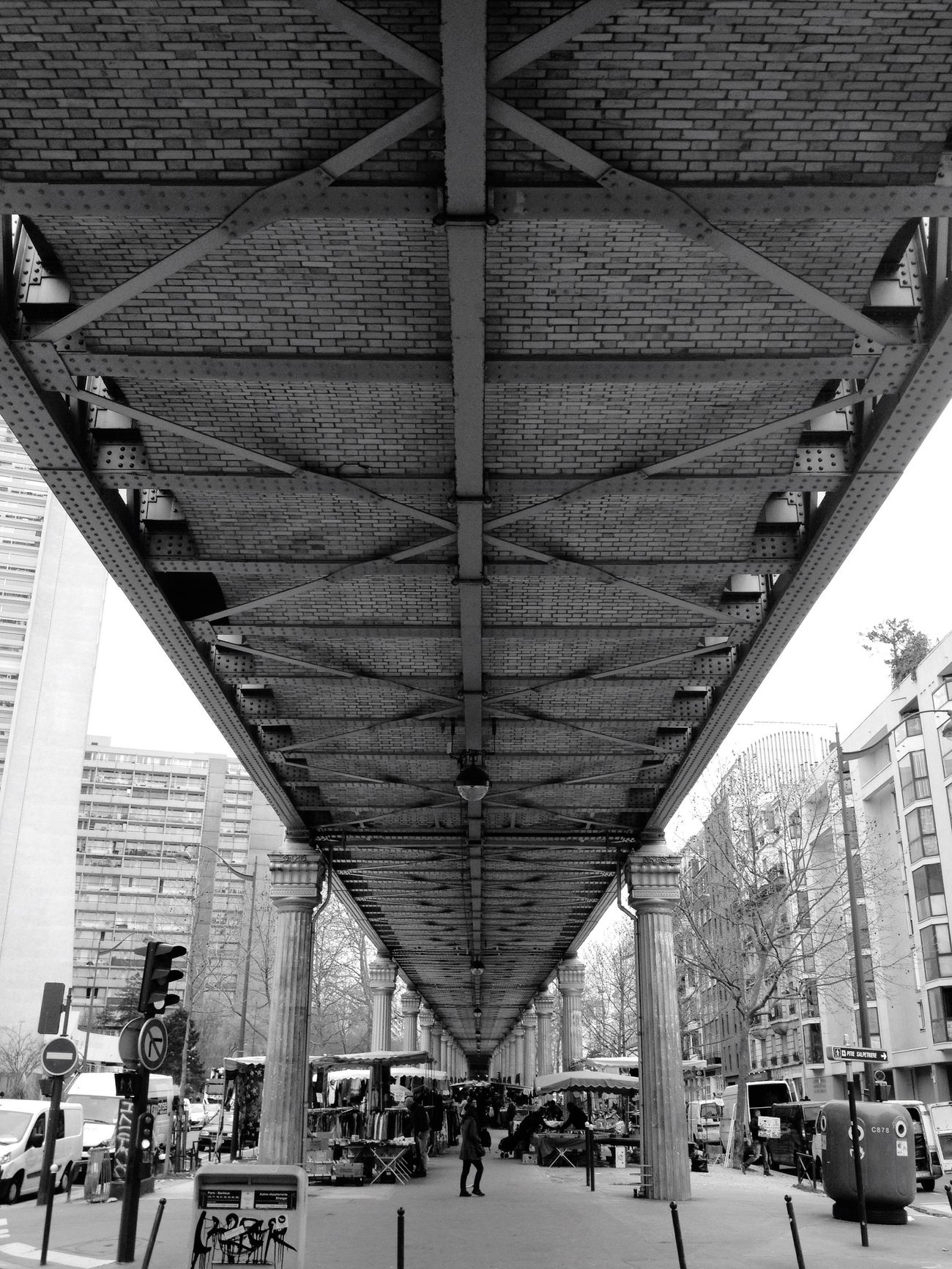 Underneath The Bridge on the way to watch Arsenalfc  at the Pub . Architecture Building Railway Train Bridge Paris Vanishing Point