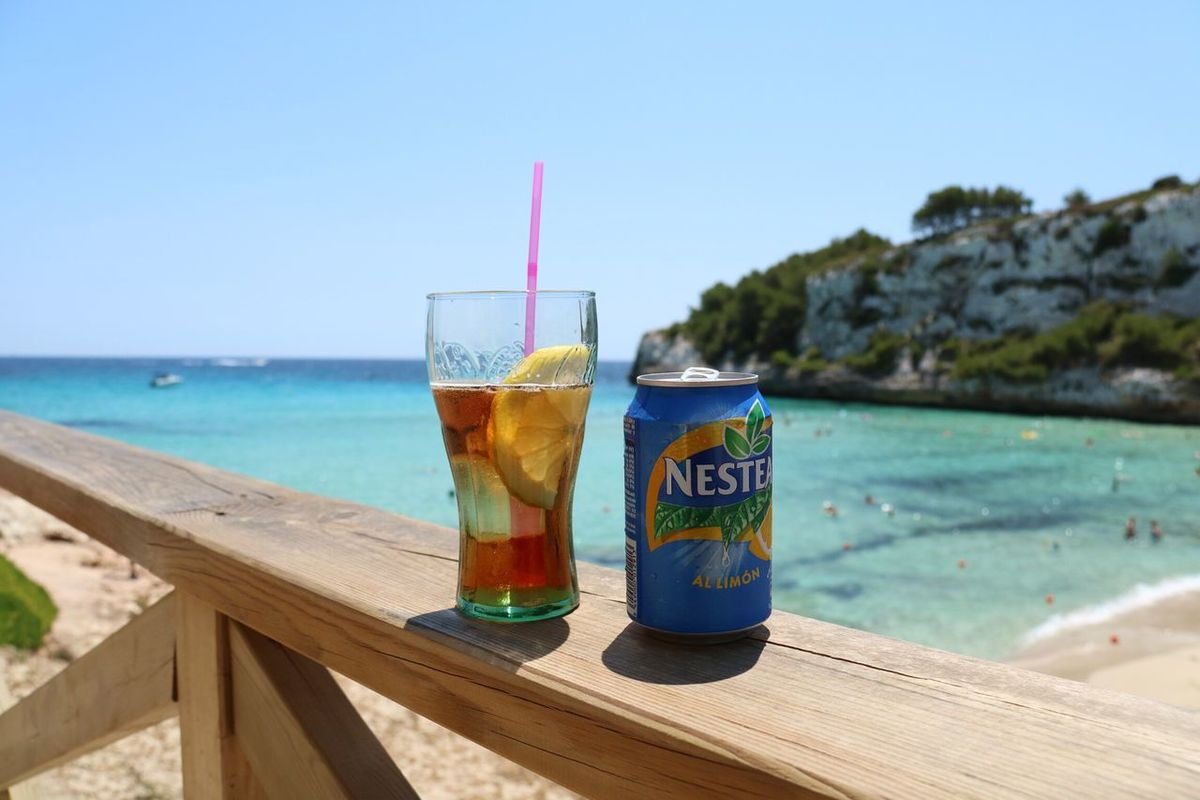 Refreshment on the beach Drink Refreshment Drinking Straw Food And Drink Water Beach Drinking Glass Outdoors Freshness Ice Tea Nature
