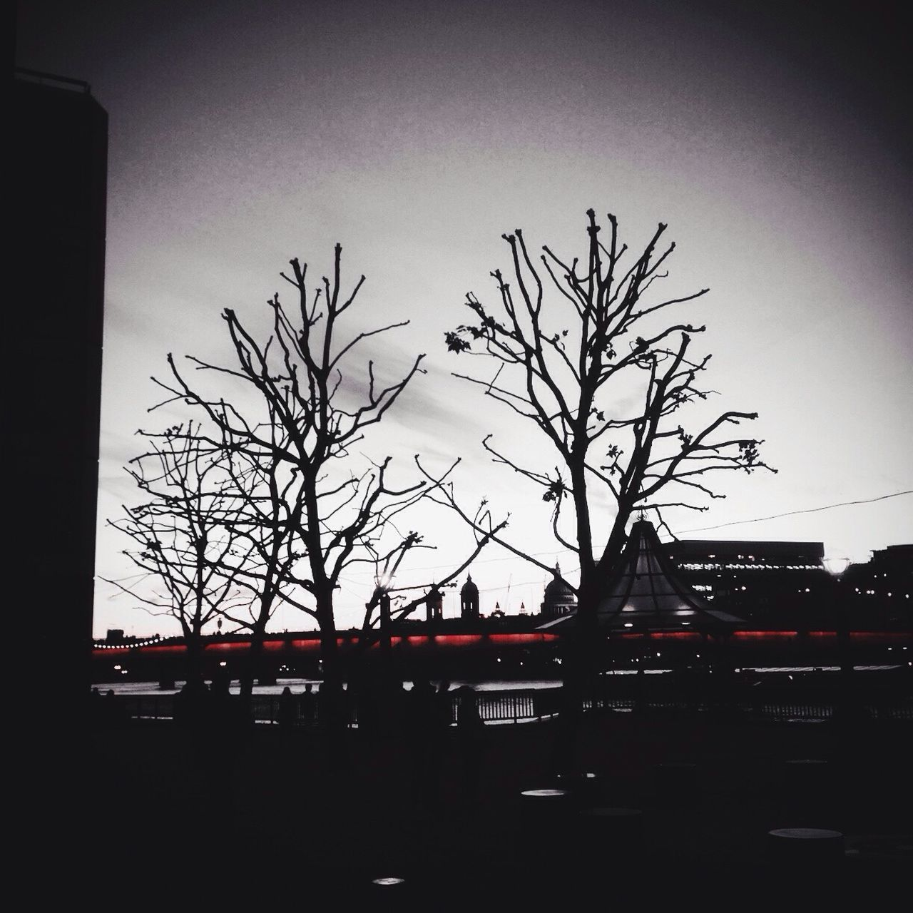 Bare Tree Tree No People City Sky Outdoors Nature Tower Bridge  Mother Nature Natural Beauty Minimalism Darkness And Light Dark Darkness Branches Branches And Sky First Eyeem Photo