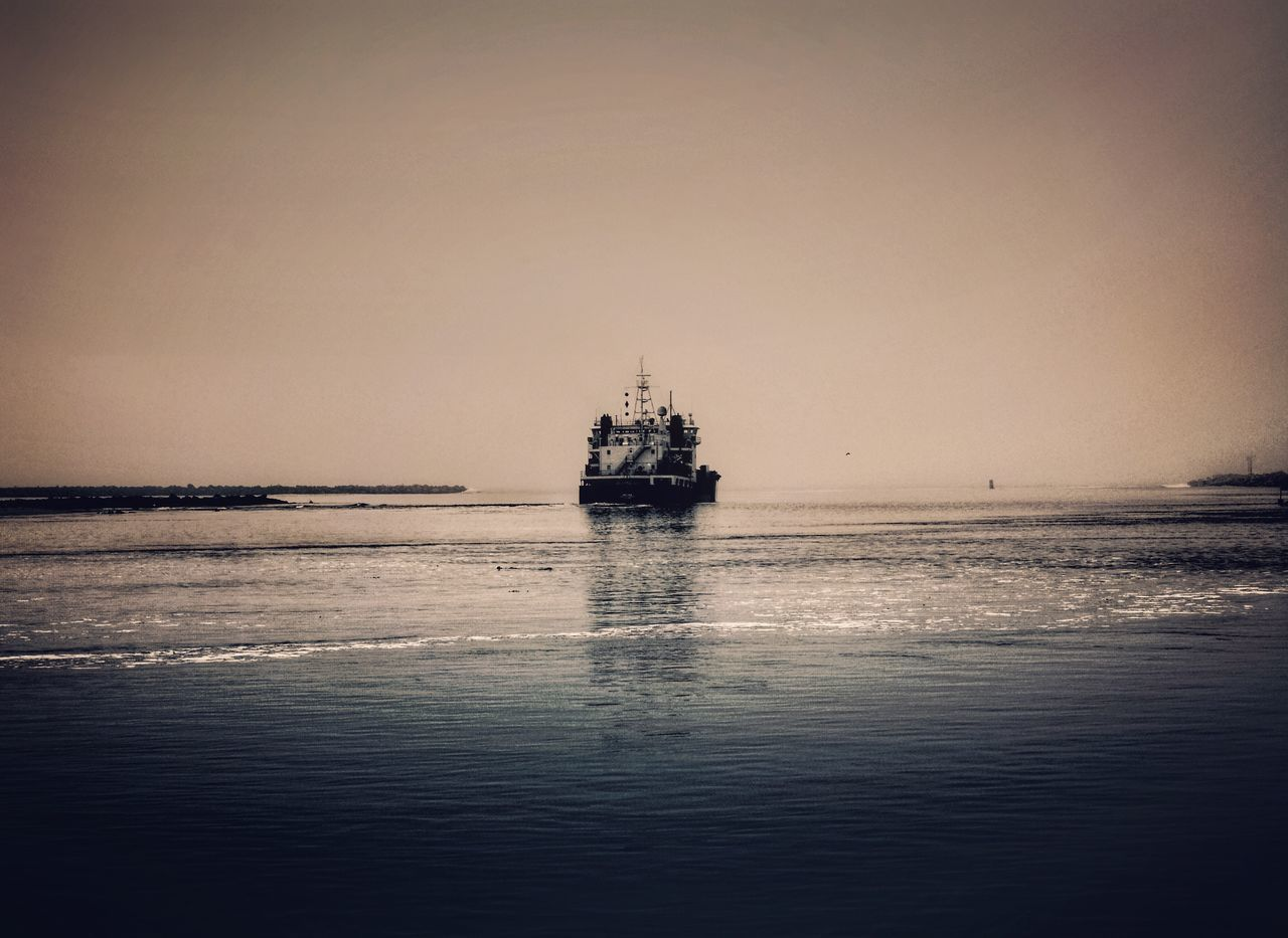 Sea Water Nautical Vessel Waterfront Transportation Mode Of Transport Boat Nature Beauty In Nature Horizon Over Water Tranquility Sailing Outdoors Scenics No People Sky Day Clear Sky Offshore Platform Pink Color California Morro Bay