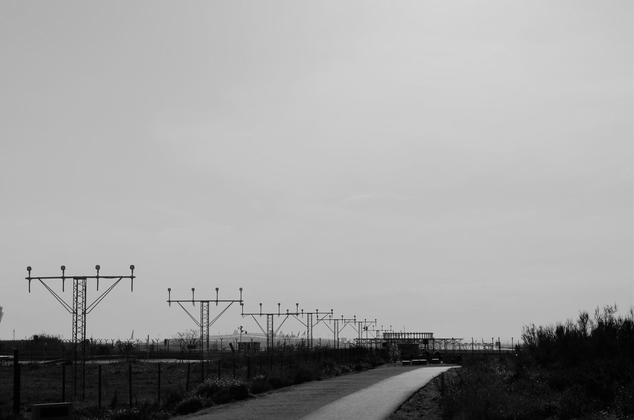 Transportation No People Clear Sky Connection Rail Transportation Communication Outdoors Day Electricity Pylon Nature Landscape Sky From My Point Of View Perspective Blackandwhite EyeEm Bnw
