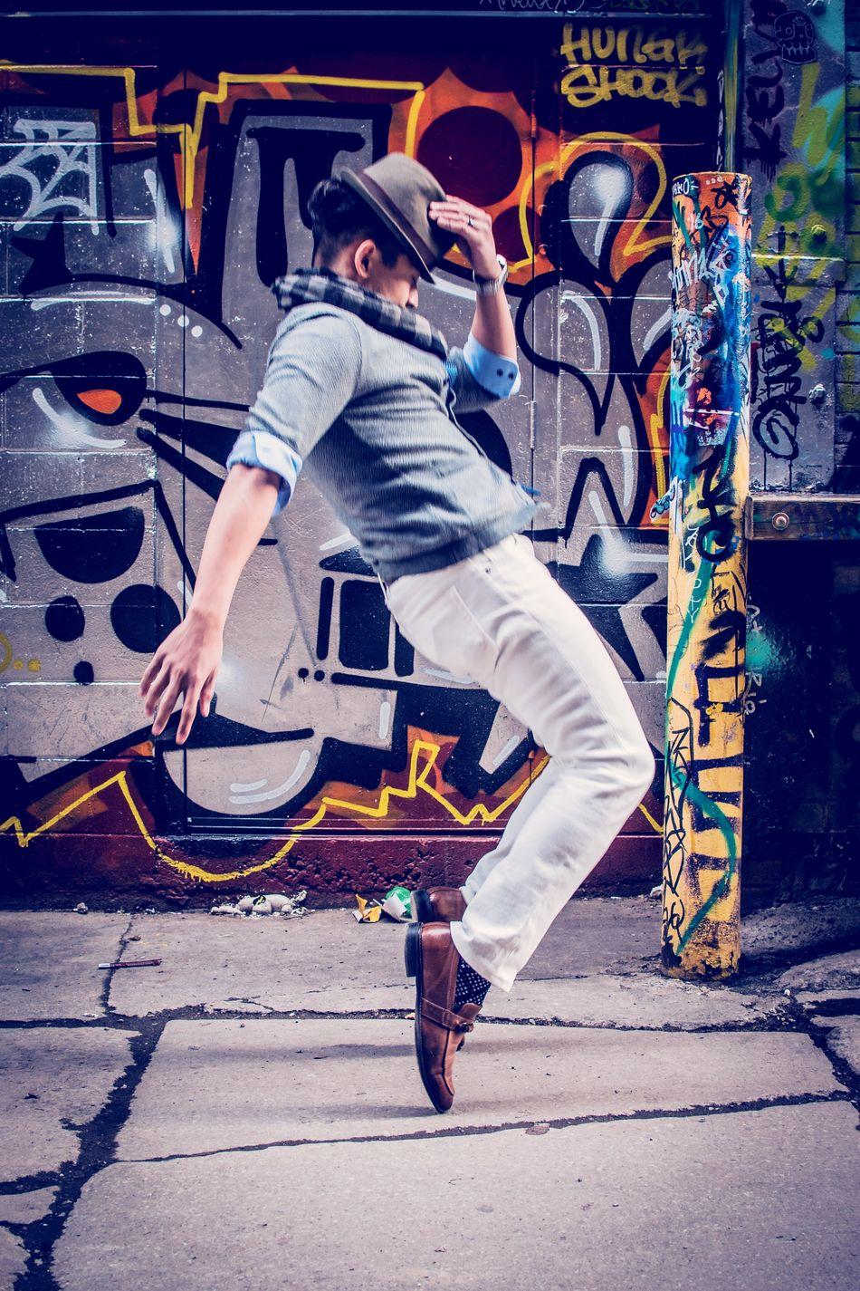 24K Magic One Person Jumping Outdoors Fashion Photography Young Adult EyeEm Graffittialley Graffitialleytoronto Streetart Street City Life Creativity Eye4photography  Torontophotography EyeEmToronto Streetphotography Adult Beautiful People Tiffphotography Architecture Cityscape Travel Destinations Toronto